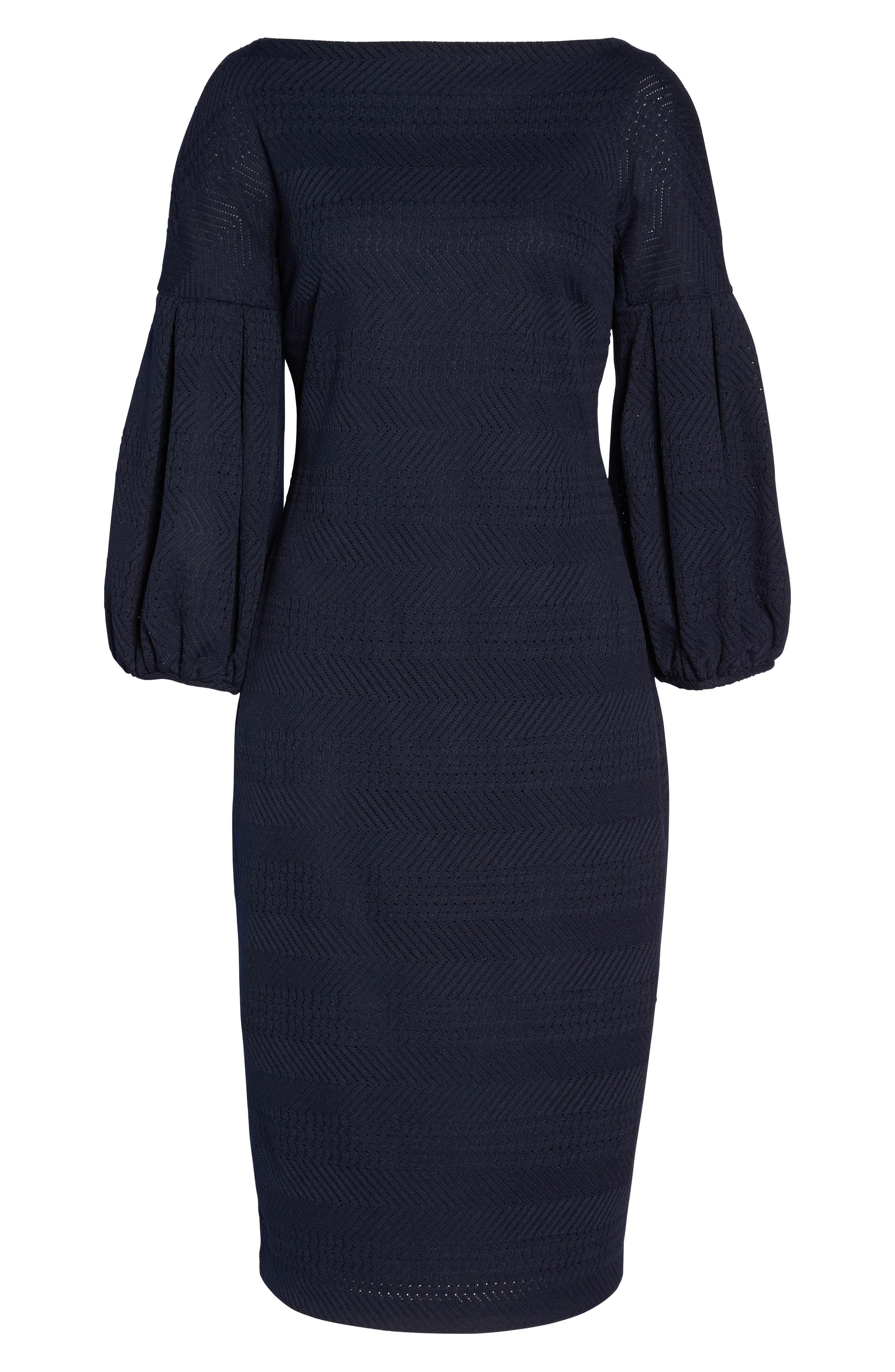 Solid Herringbone Knit Dress,                             Alternate thumbnail 6, color,                             Navy