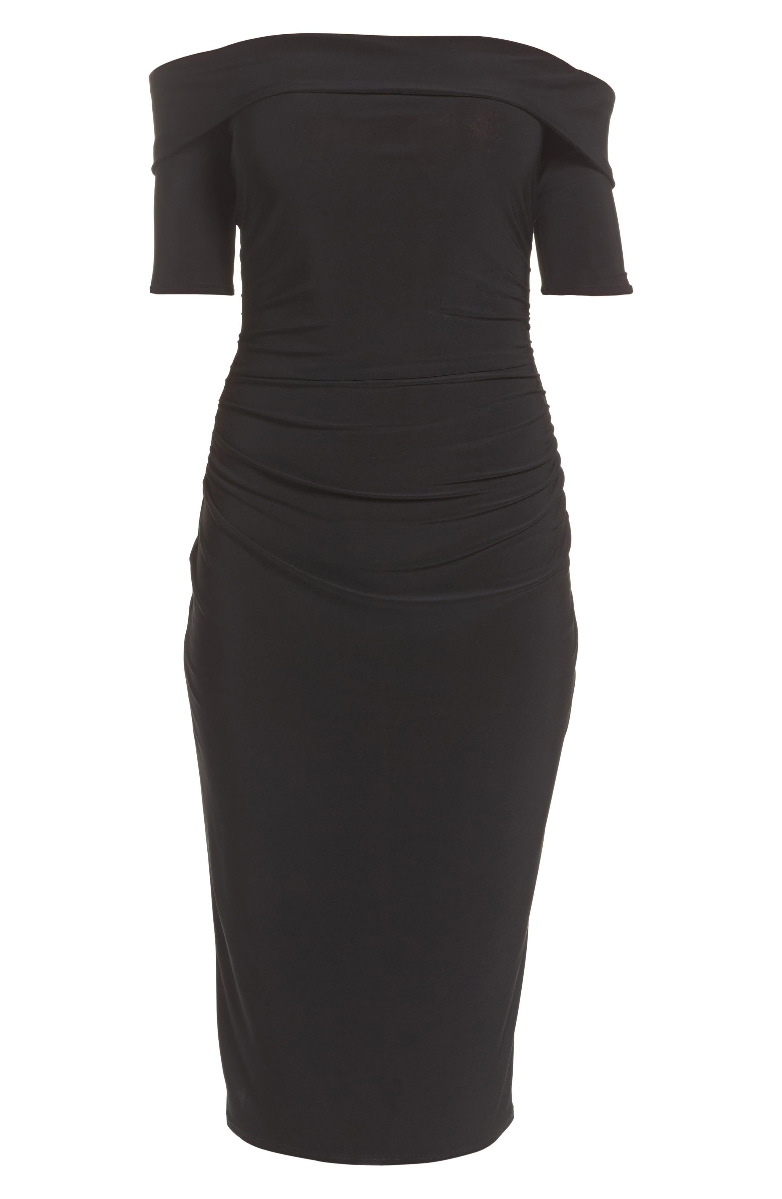 Jacey Off the Shoulder Sheath Dress,                             Alternate thumbnail 6, color,                             Black