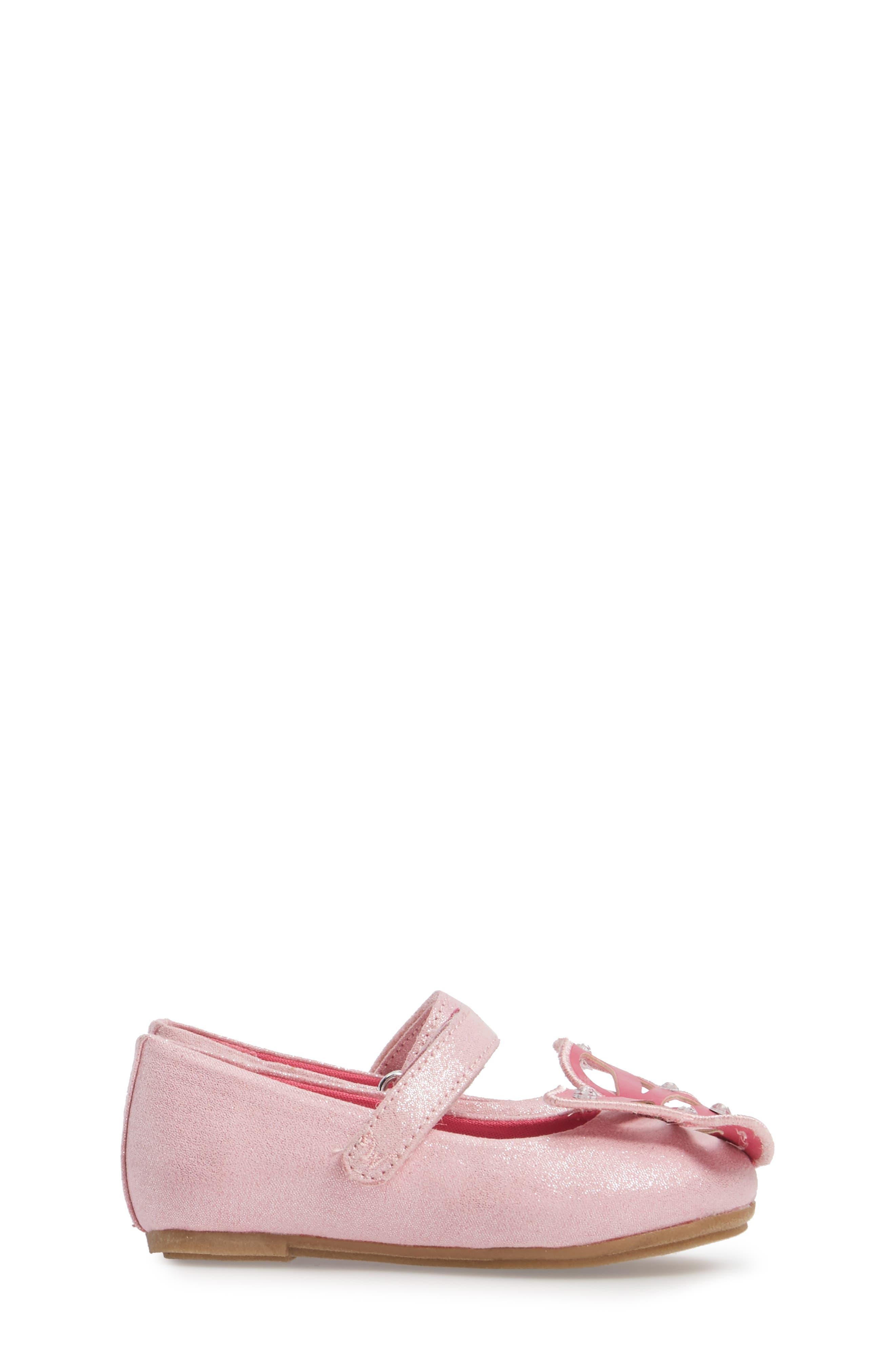 Flutter Wings Embellished Ballet Flat,                             Alternate thumbnail 3, color,                             Light Pink