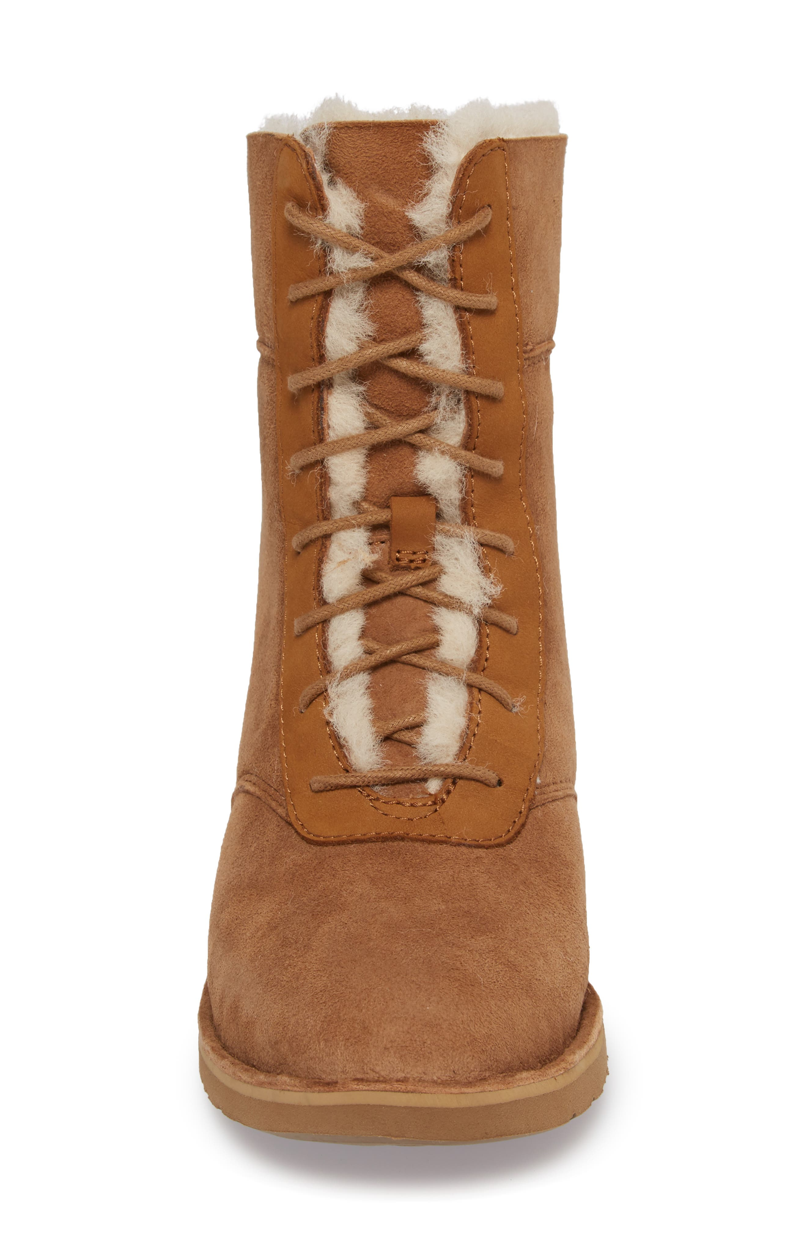 Daney Lace-Up Boot,                             Alternate thumbnail 4, color,                             Chestnut Suede