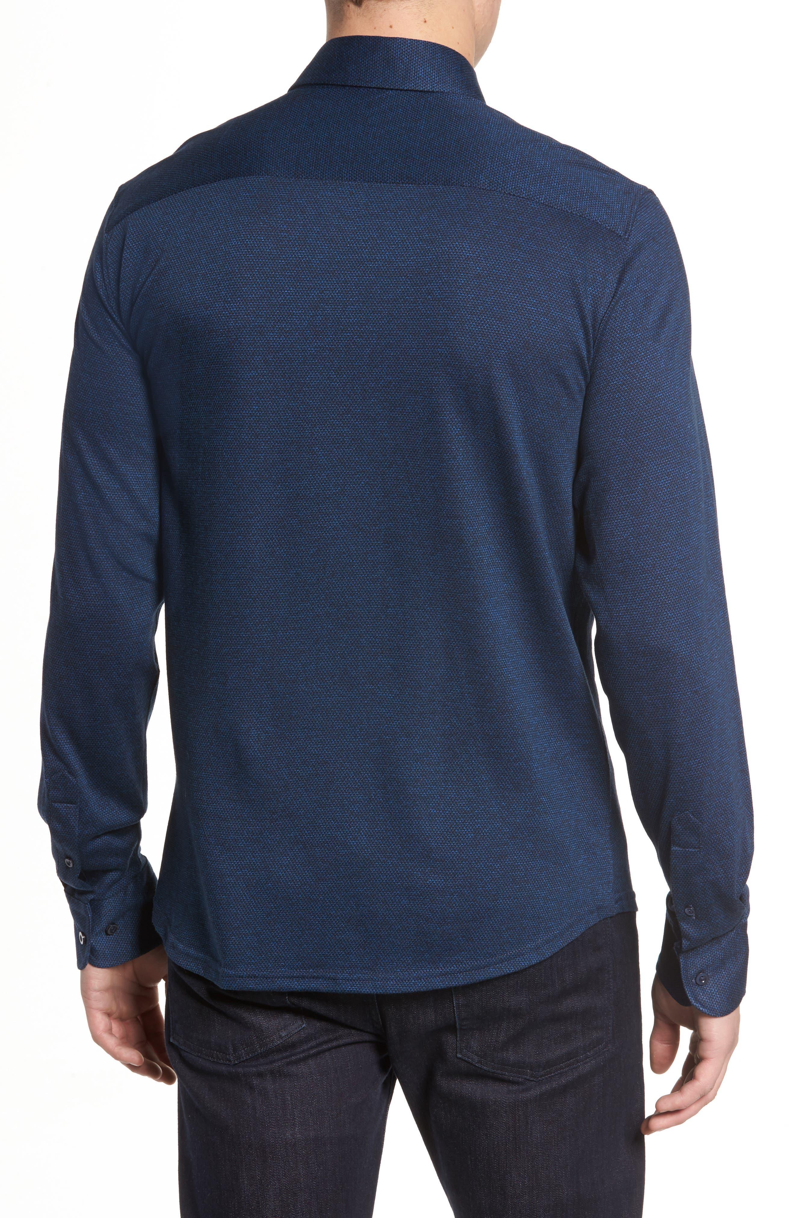 Slim Fit Diamond Jacquard Knit Sport Shirt,                             Alternate thumbnail 2, color,                             Navy