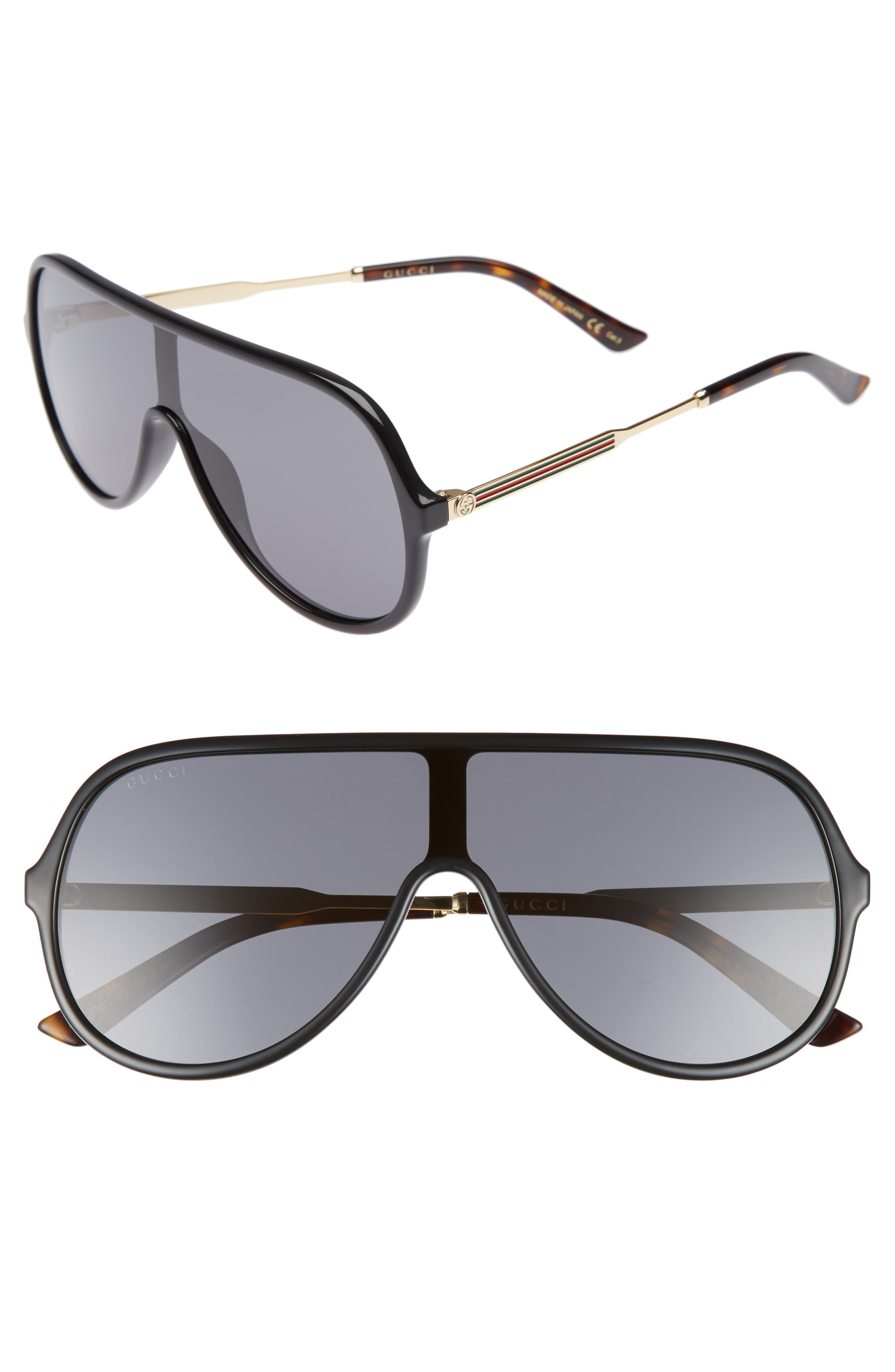Alternate Image 1 Selected - Gucci 99mm Oversize Shield Sunglasses