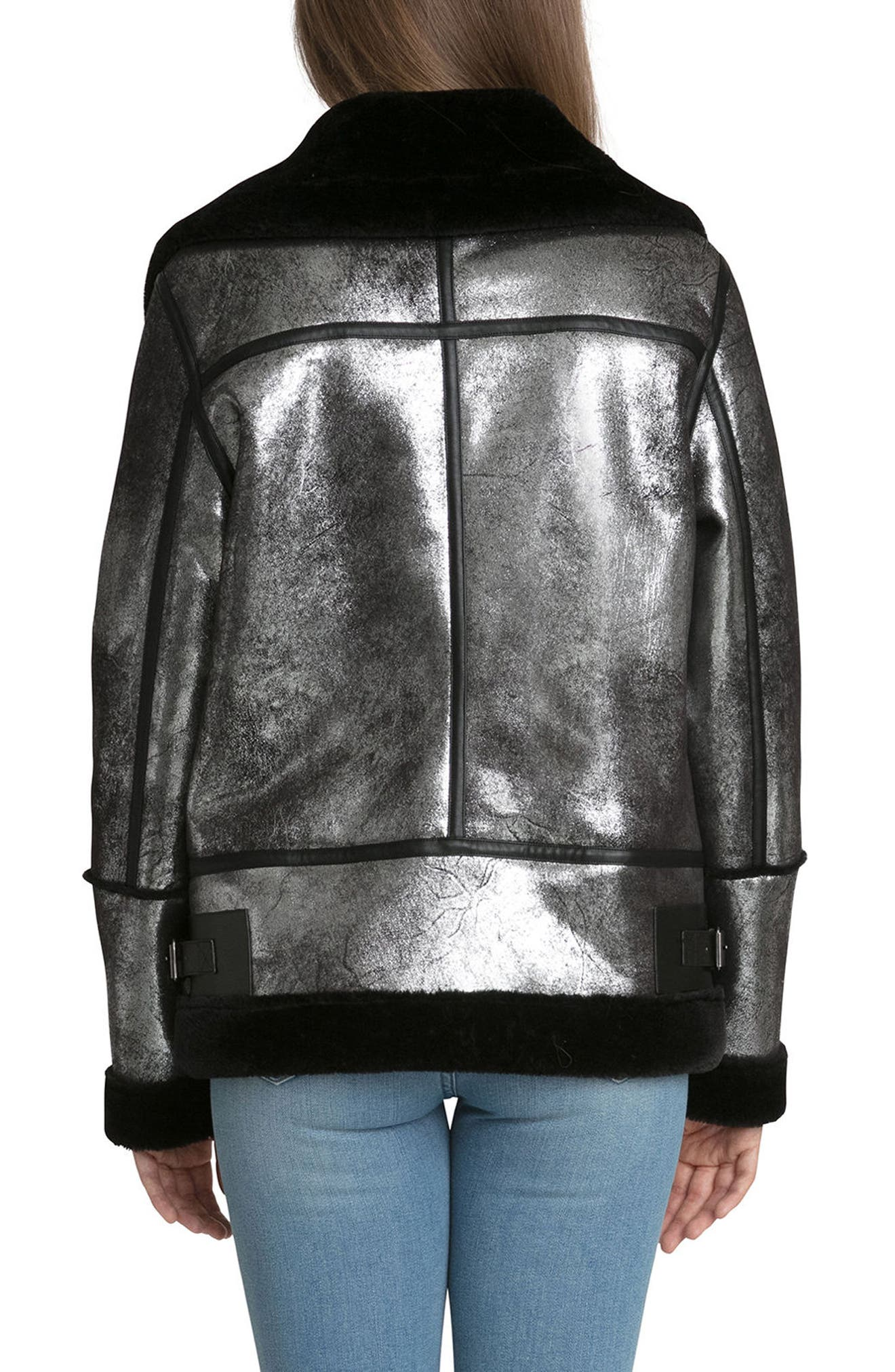 Metallic Biker Jacket with Faux Shearling Trim,                             Alternate thumbnail 2, color,                             Silver/ Black