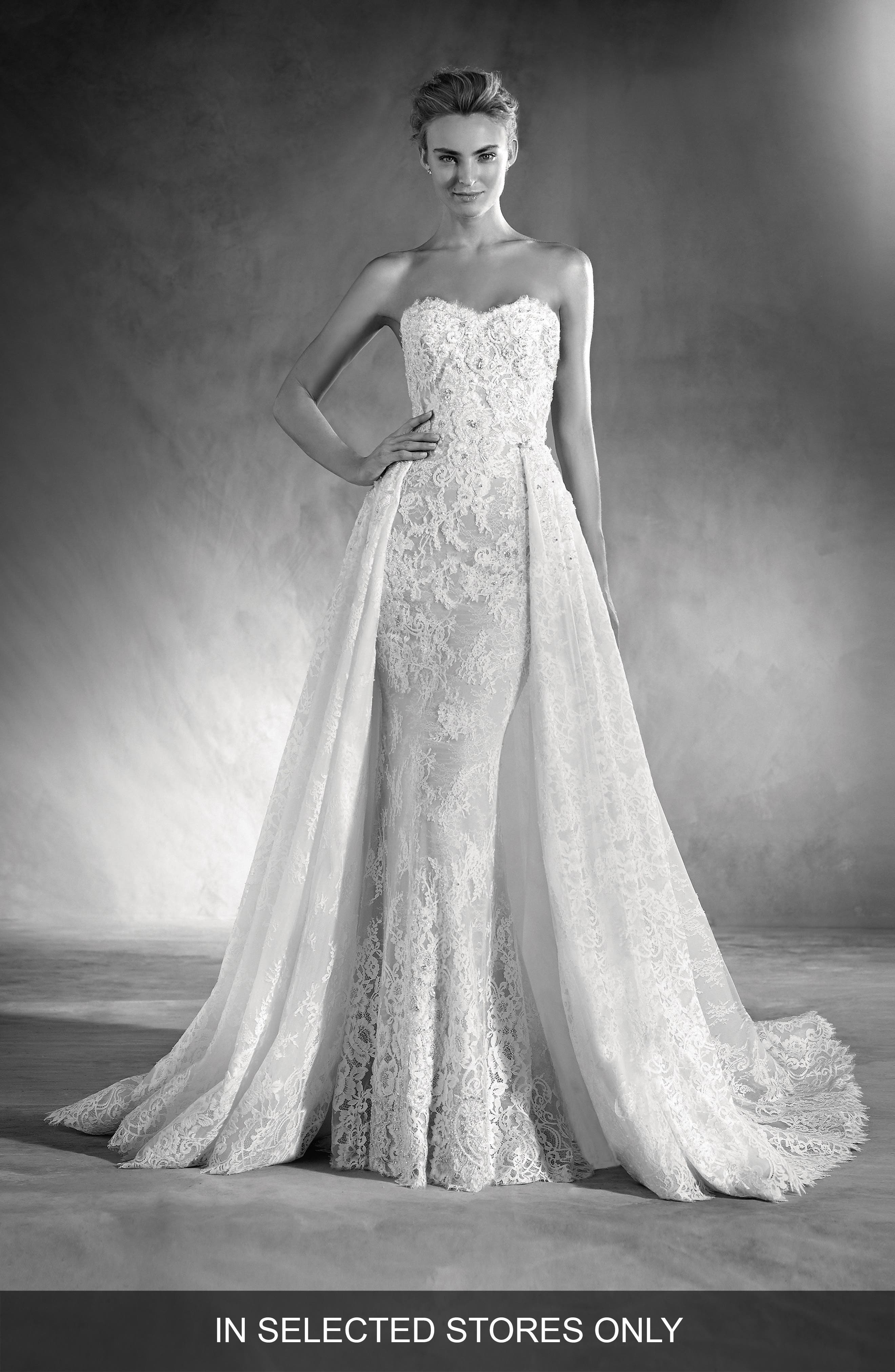 Edith Strapless Lace Gown,                         Main,                         color, Off White