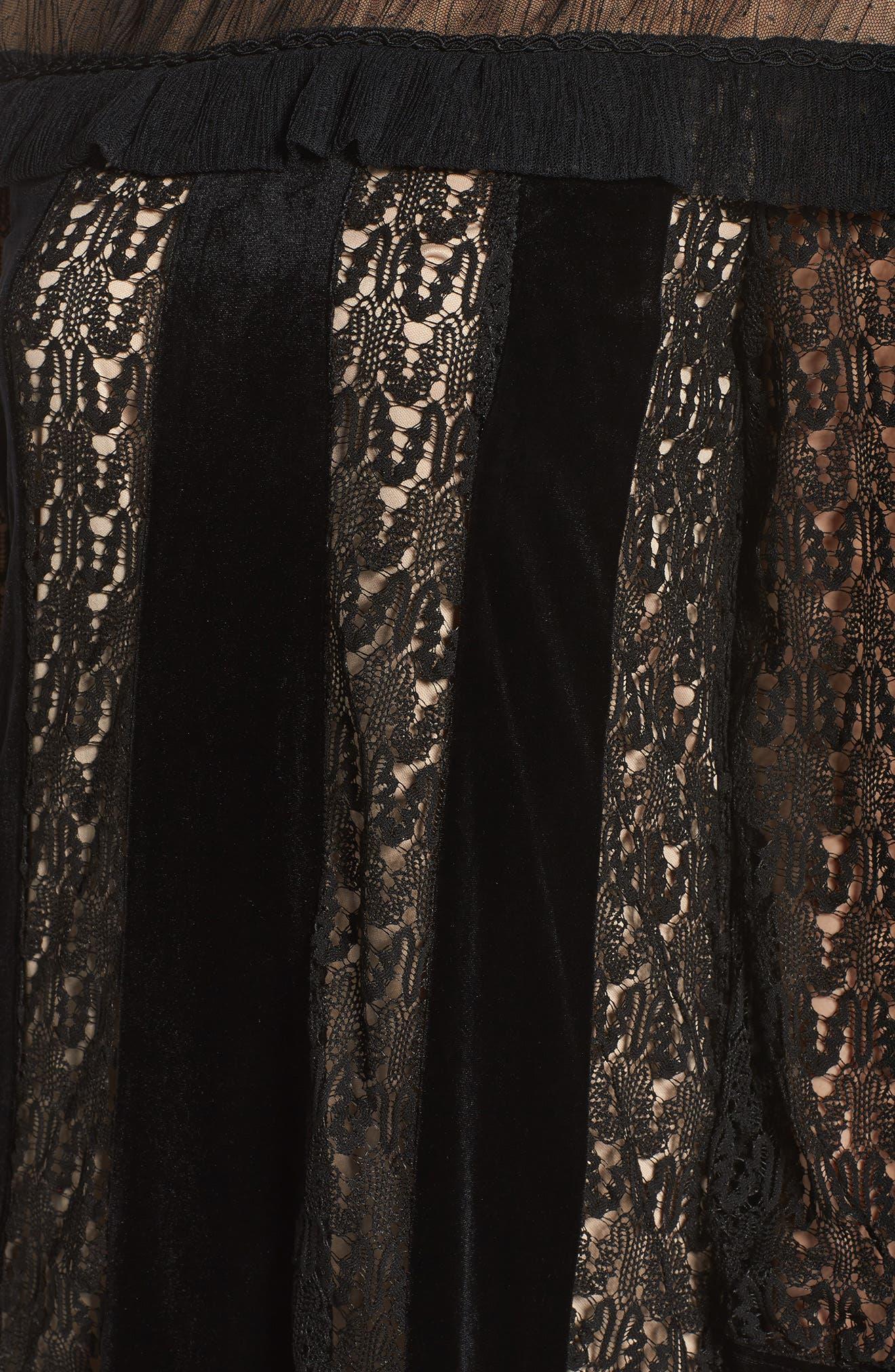 Charli Lace & Velvet Shift Dress,                             Alternate thumbnail 5, color,                             Black