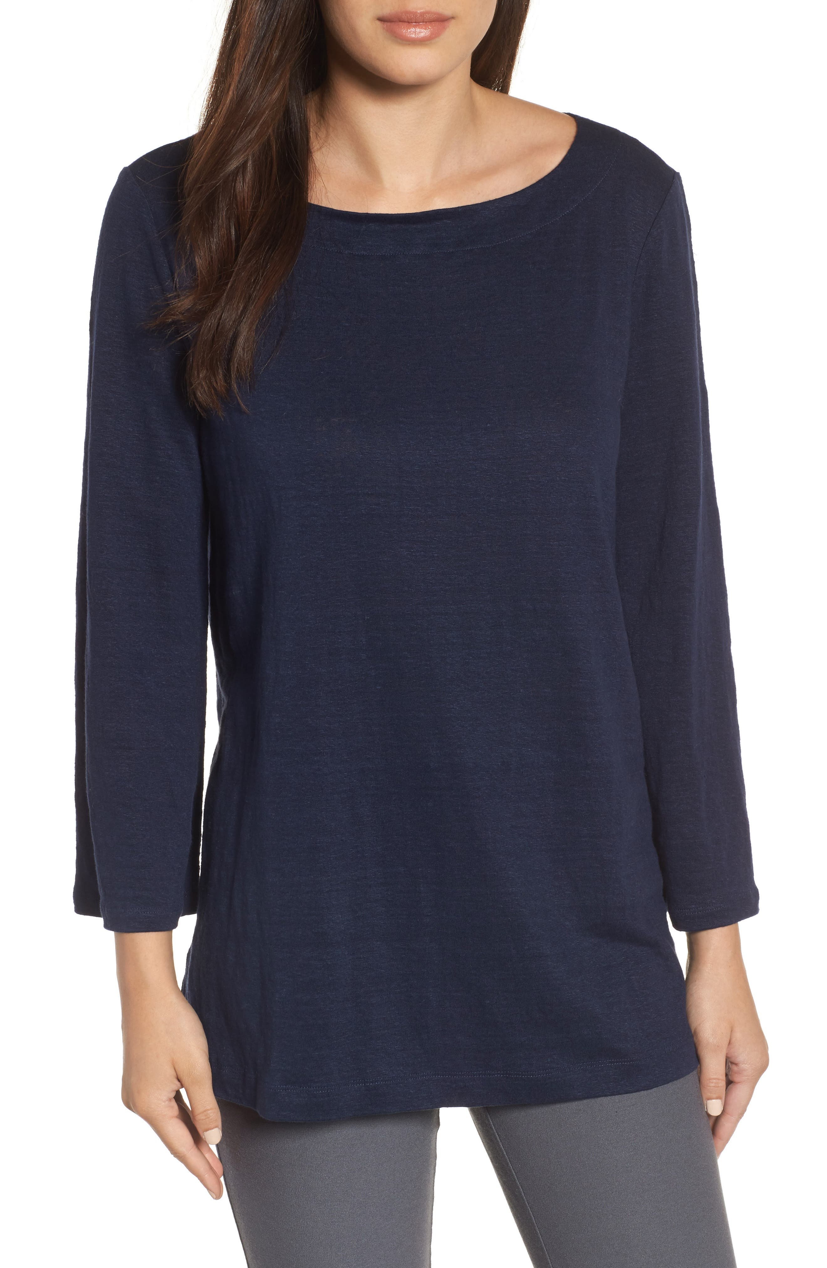 Organic Linen Bateau Neck Top,                         Main,                         color, Midnight