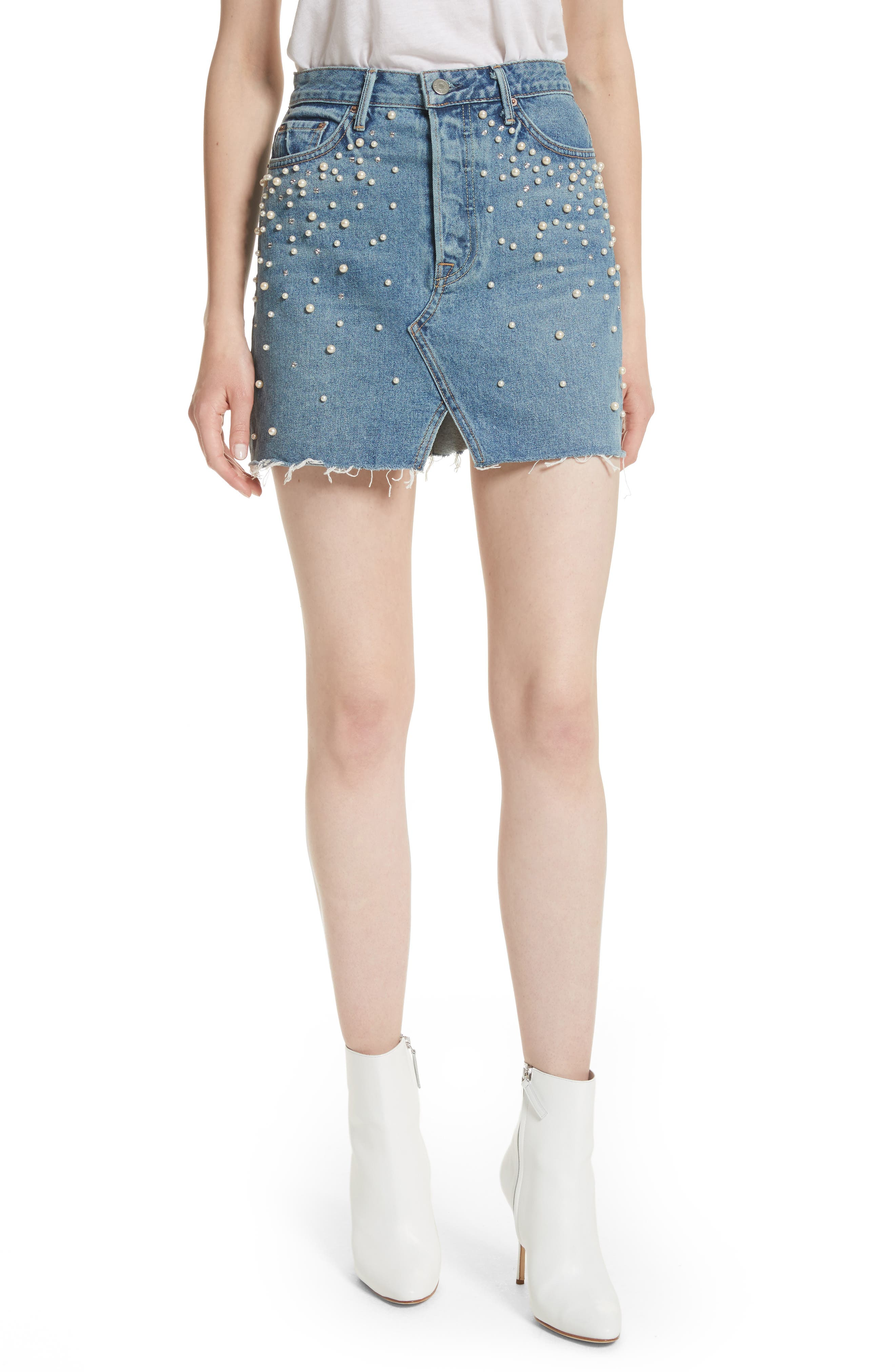 Milla Faux Pearl & Crystal Embellished A-Line Denim Skirt,                             Main thumbnail 1, color,                             Solstice