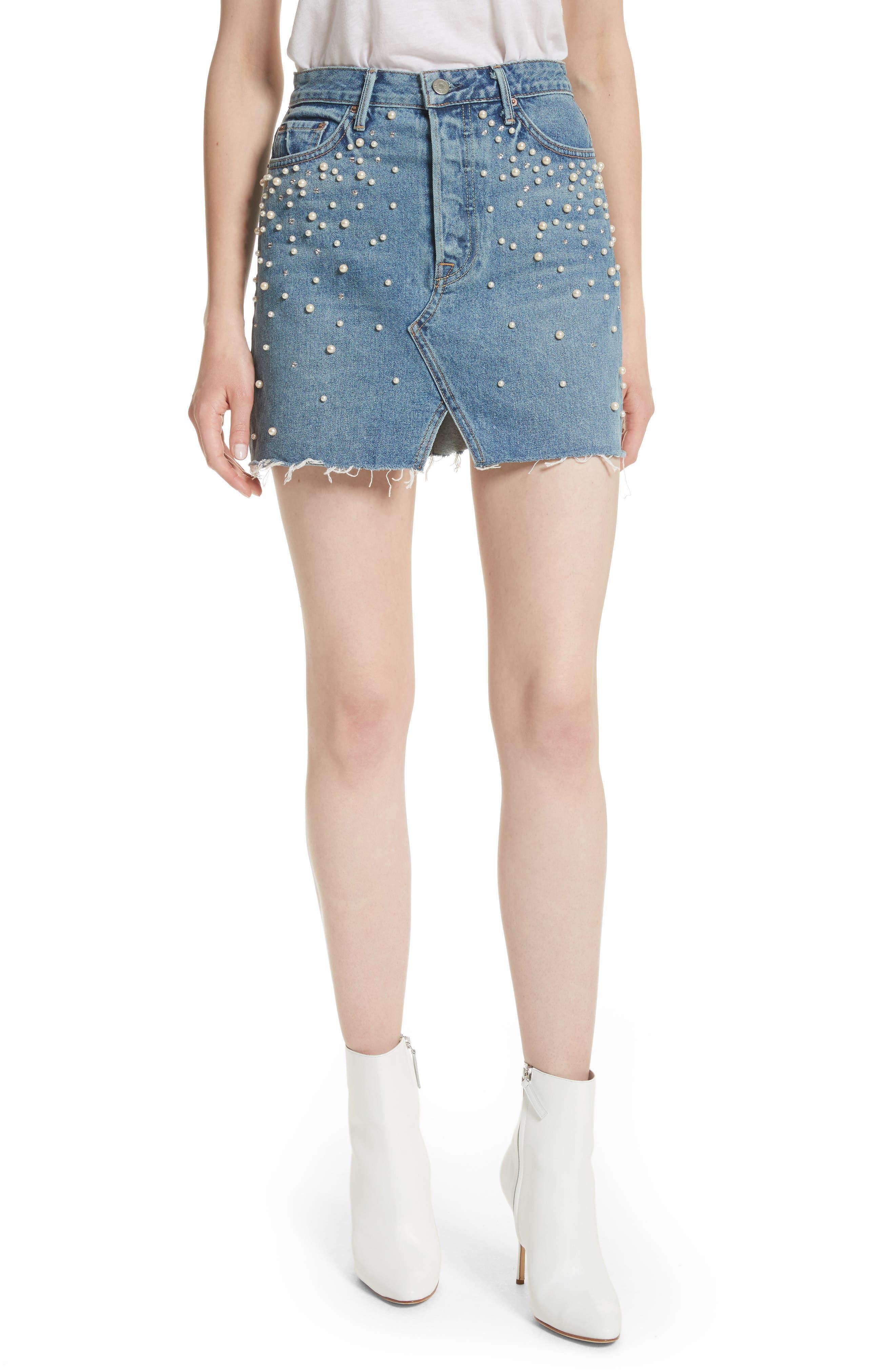 GRLFRND Milla Faux Pearl & Crystal Embellished A-Line Denim Skirt
