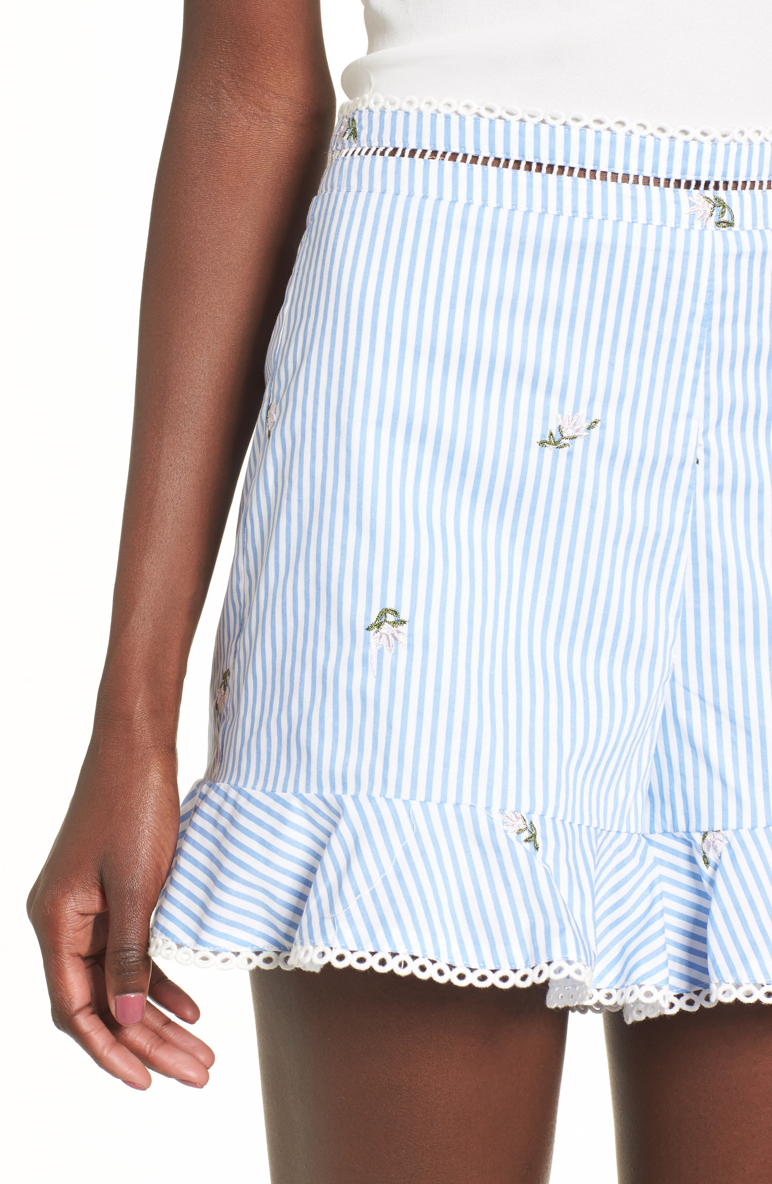 Embroidered Shorts,                             Alternate thumbnail 4, color,                             Blue/ Ivory Stripe