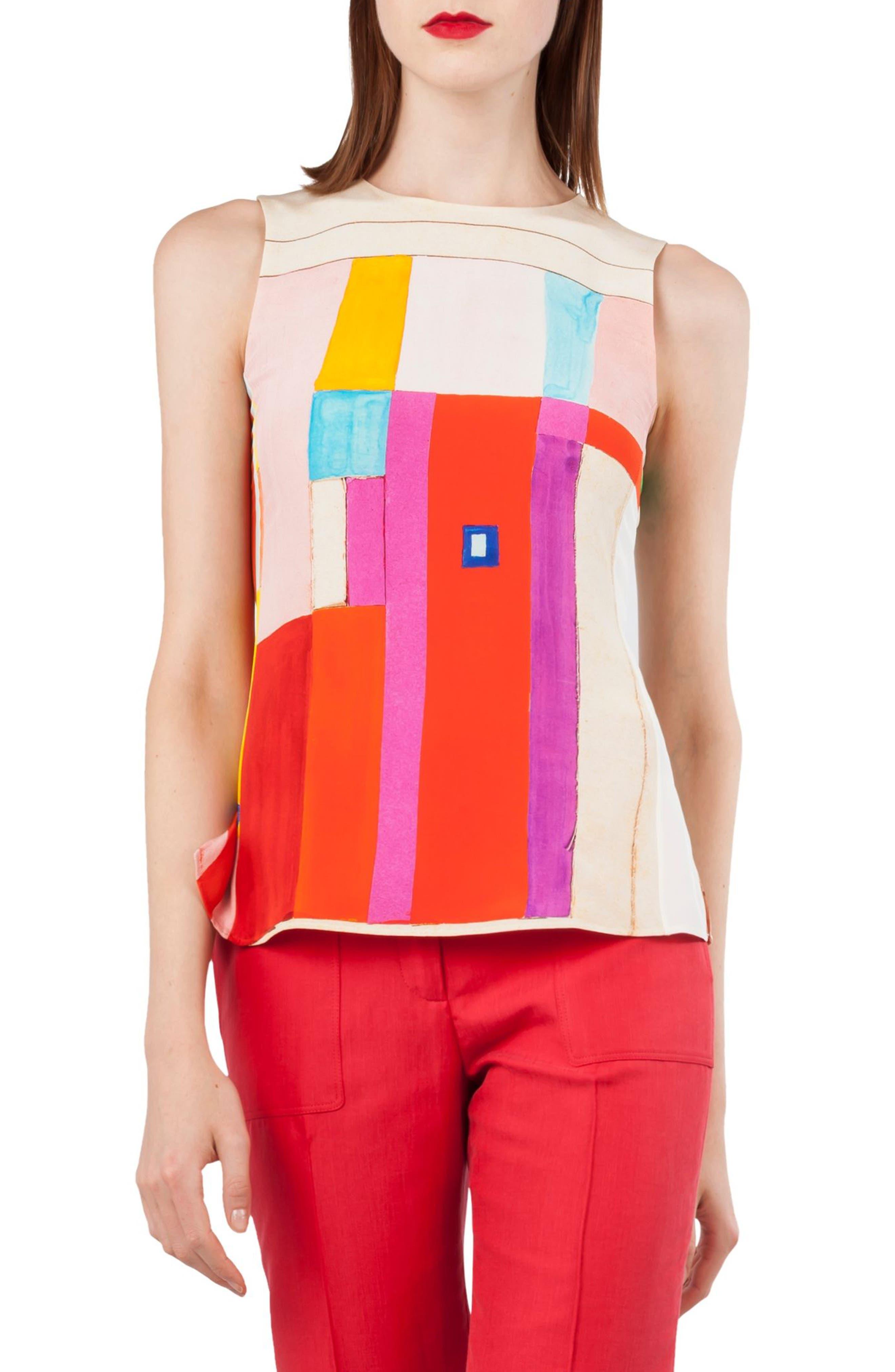 Mural Print Silk Crepe Top,                         Main,                         color, Multicolor