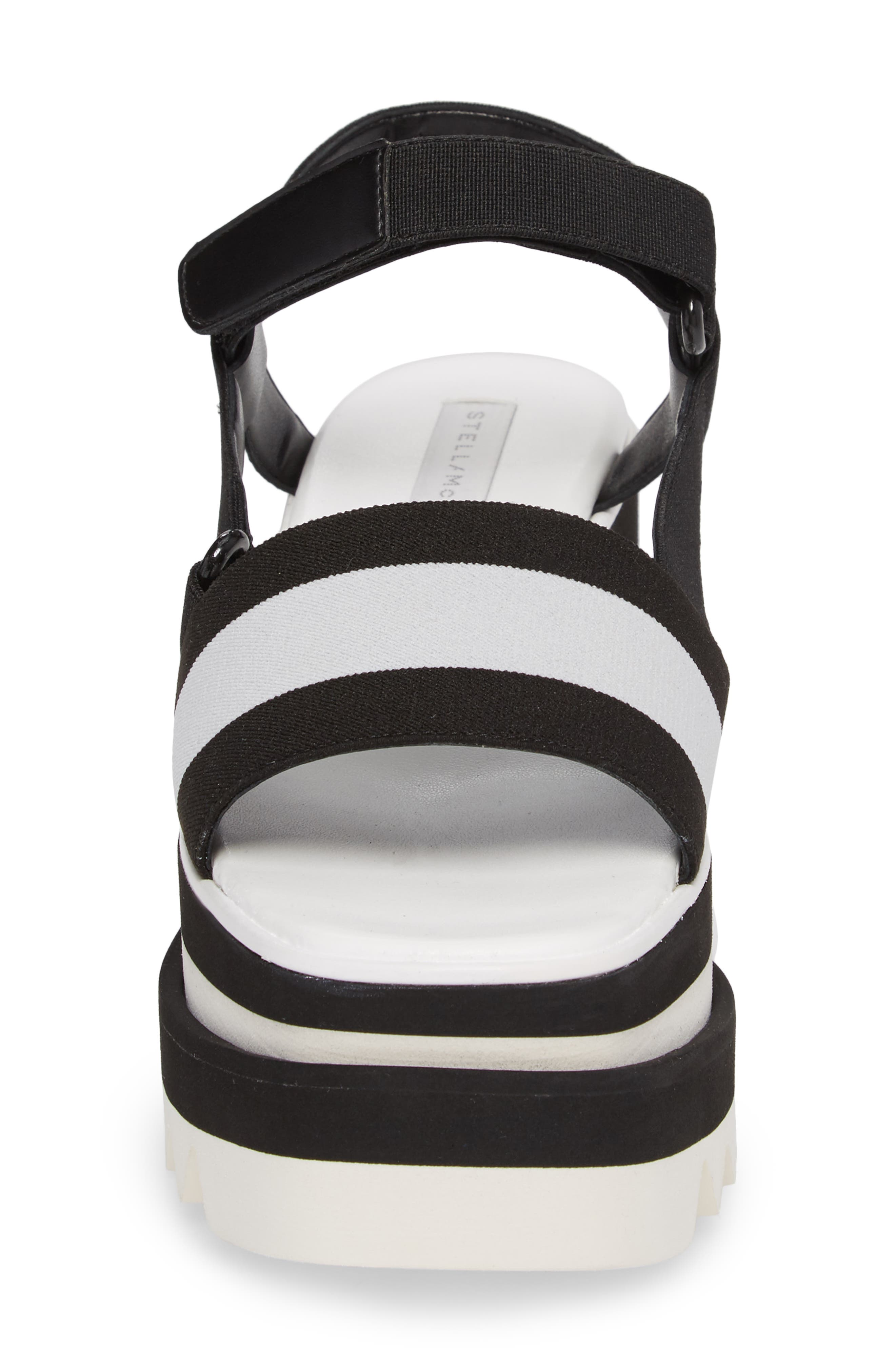 Stripe Platform Sandal,                             Alternate thumbnail 4, color,                             Black/ White
