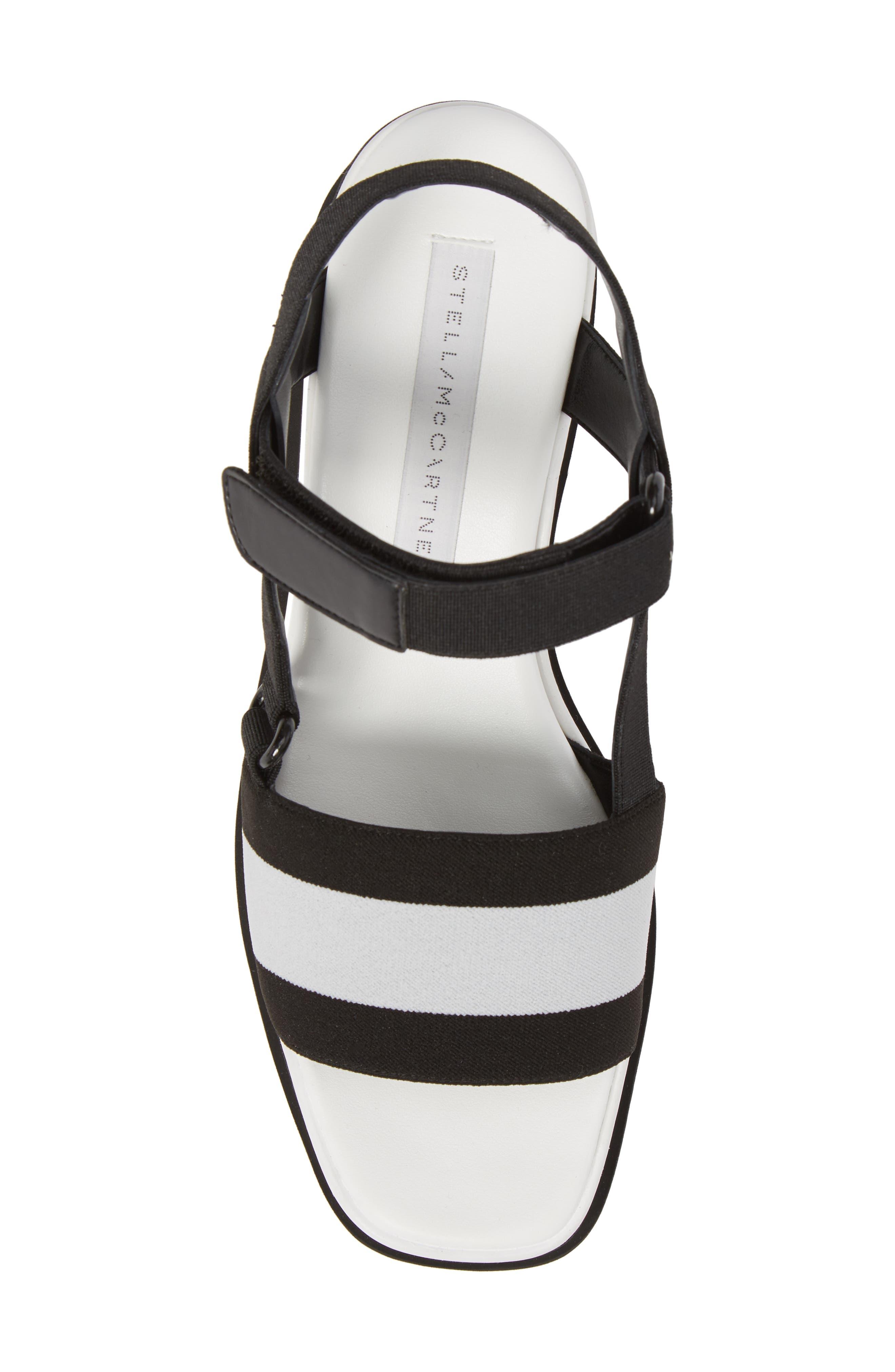 Stripe Platform Sandal,                             Alternate thumbnail 5, color,                             Black/ White