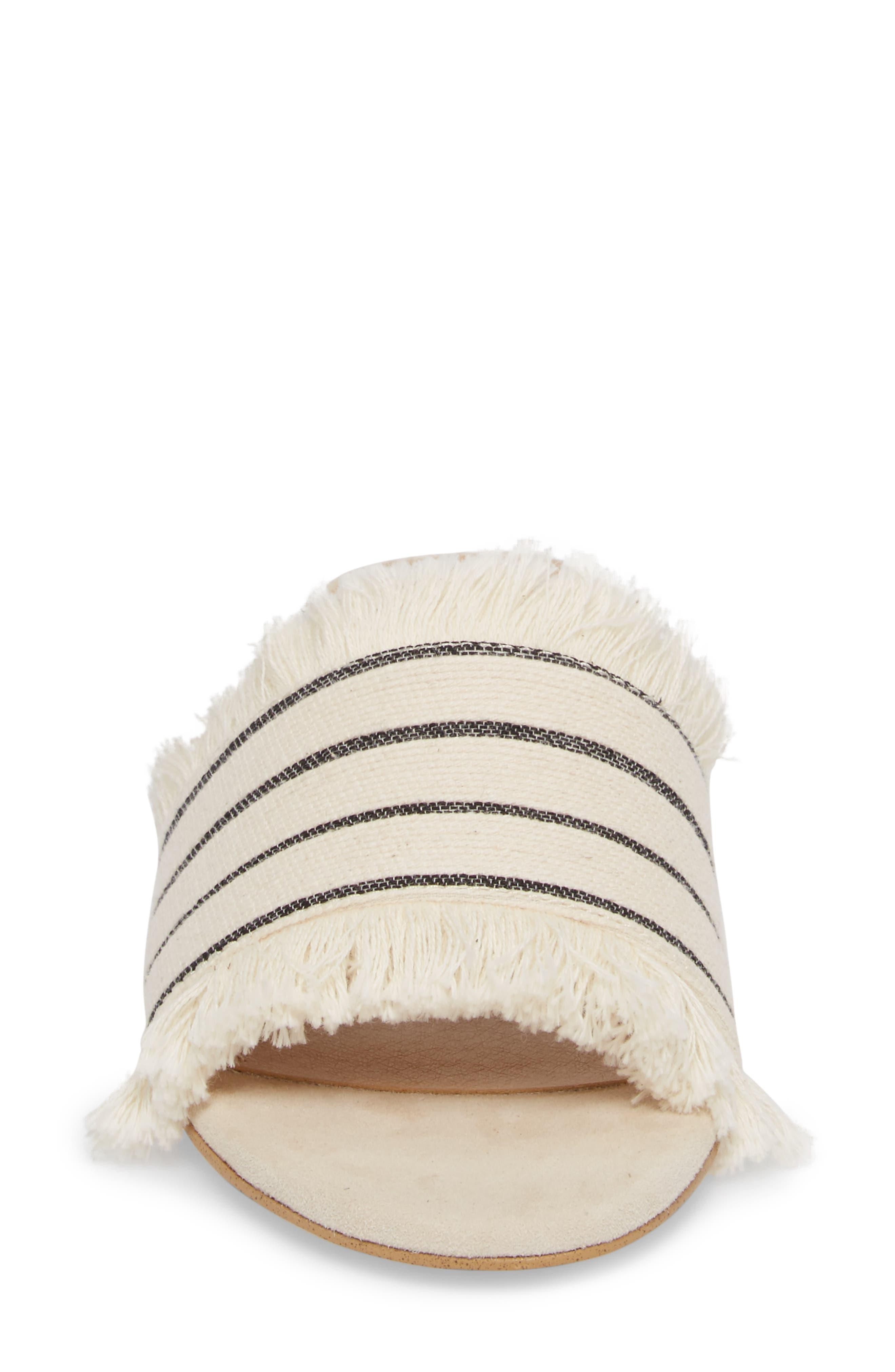 Baldwyn Fringe Slide Sandal,                             Alternate thumbnail 4, color,                             Cream Leather
