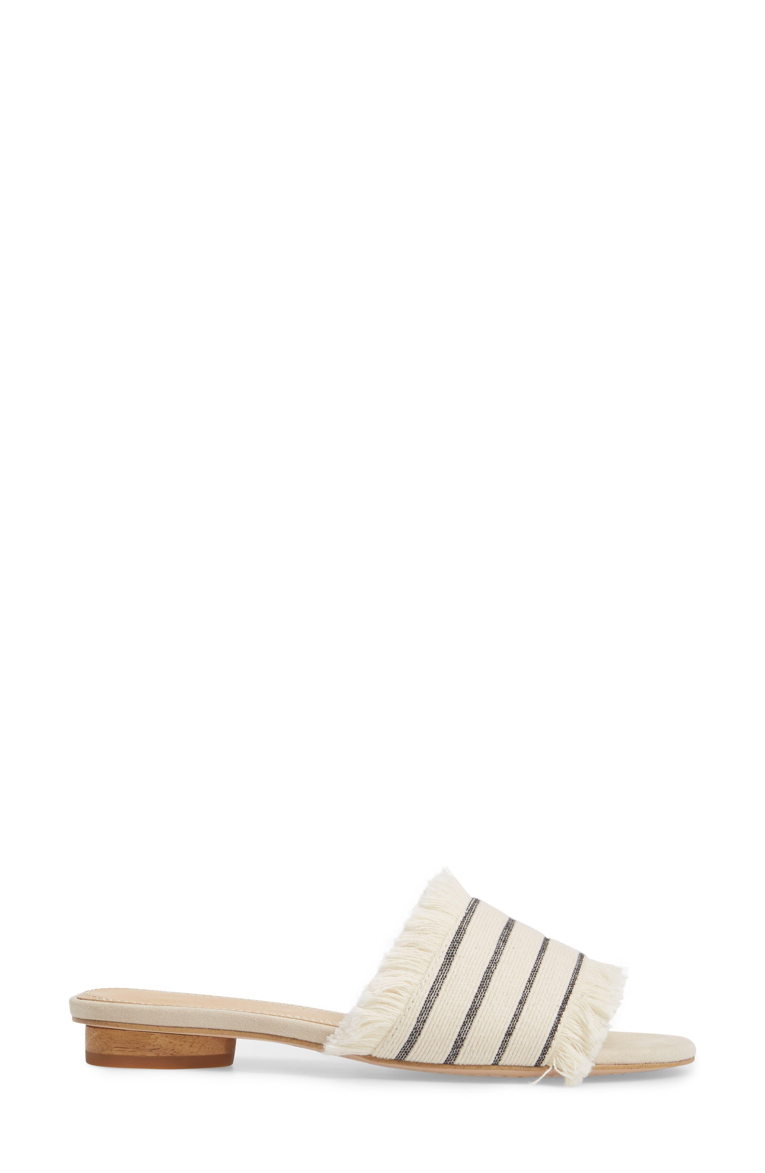 Baldwyn Fringe Slide Sandal,                             Alternate thumbnail 3, color,                             Cream Leather