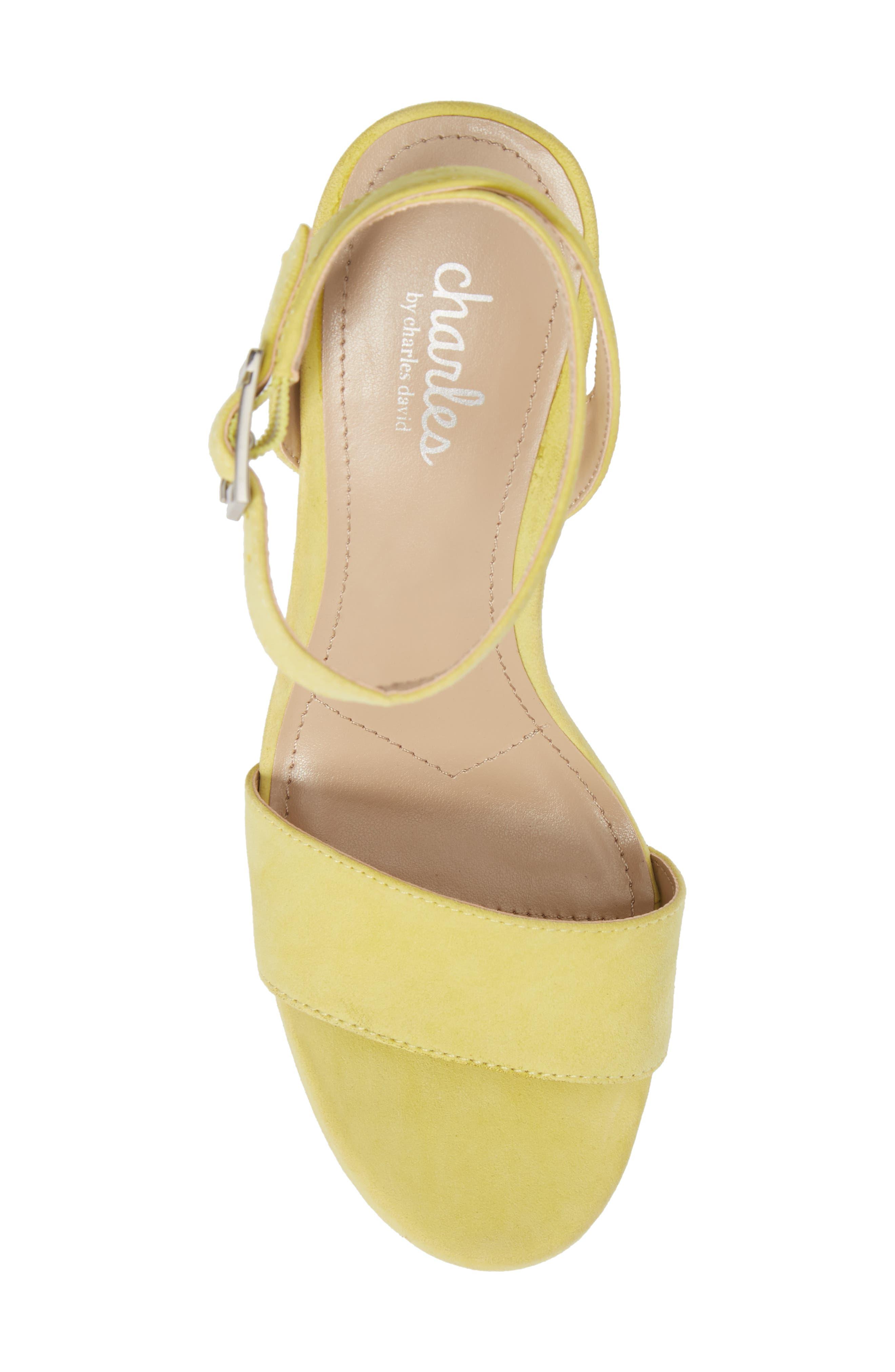 Lilla Platform Wedge Sandal,                             Alternate thumbnail 5, color,                             Yellow Suede