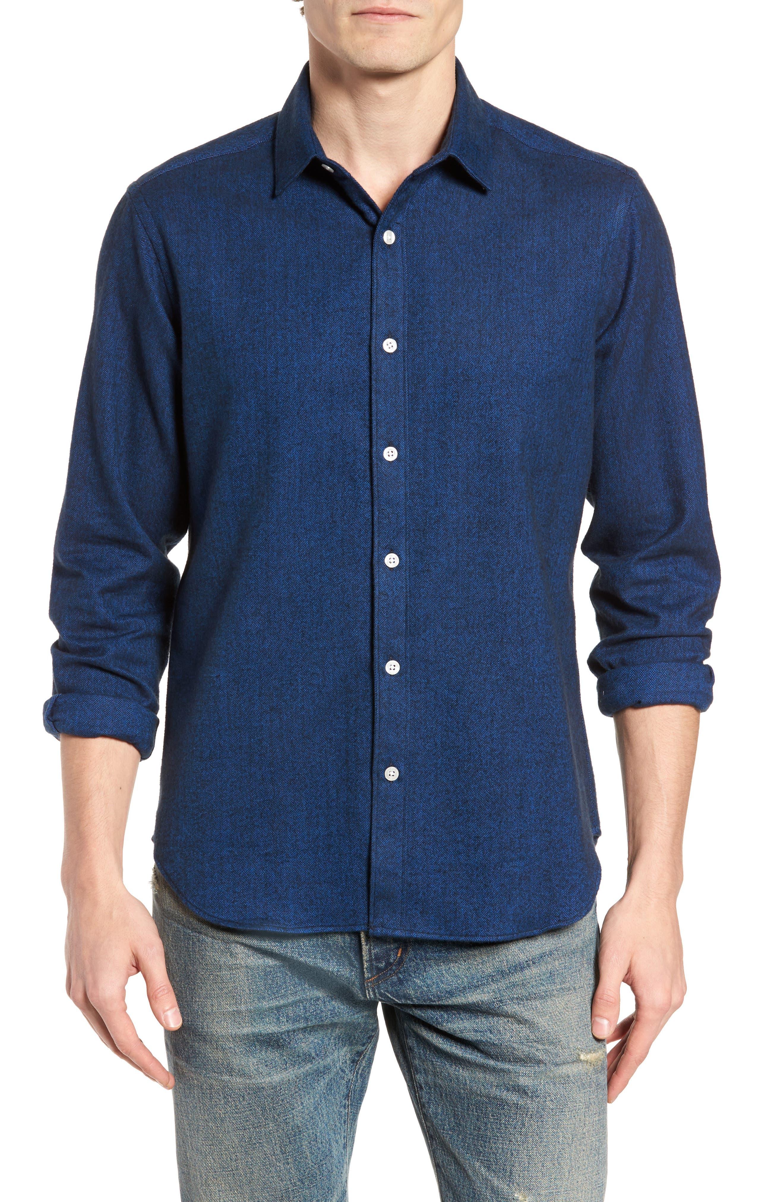 Grafton Slim Fit Herringbone Sport Shirt,                         Main,                         color, Navy
