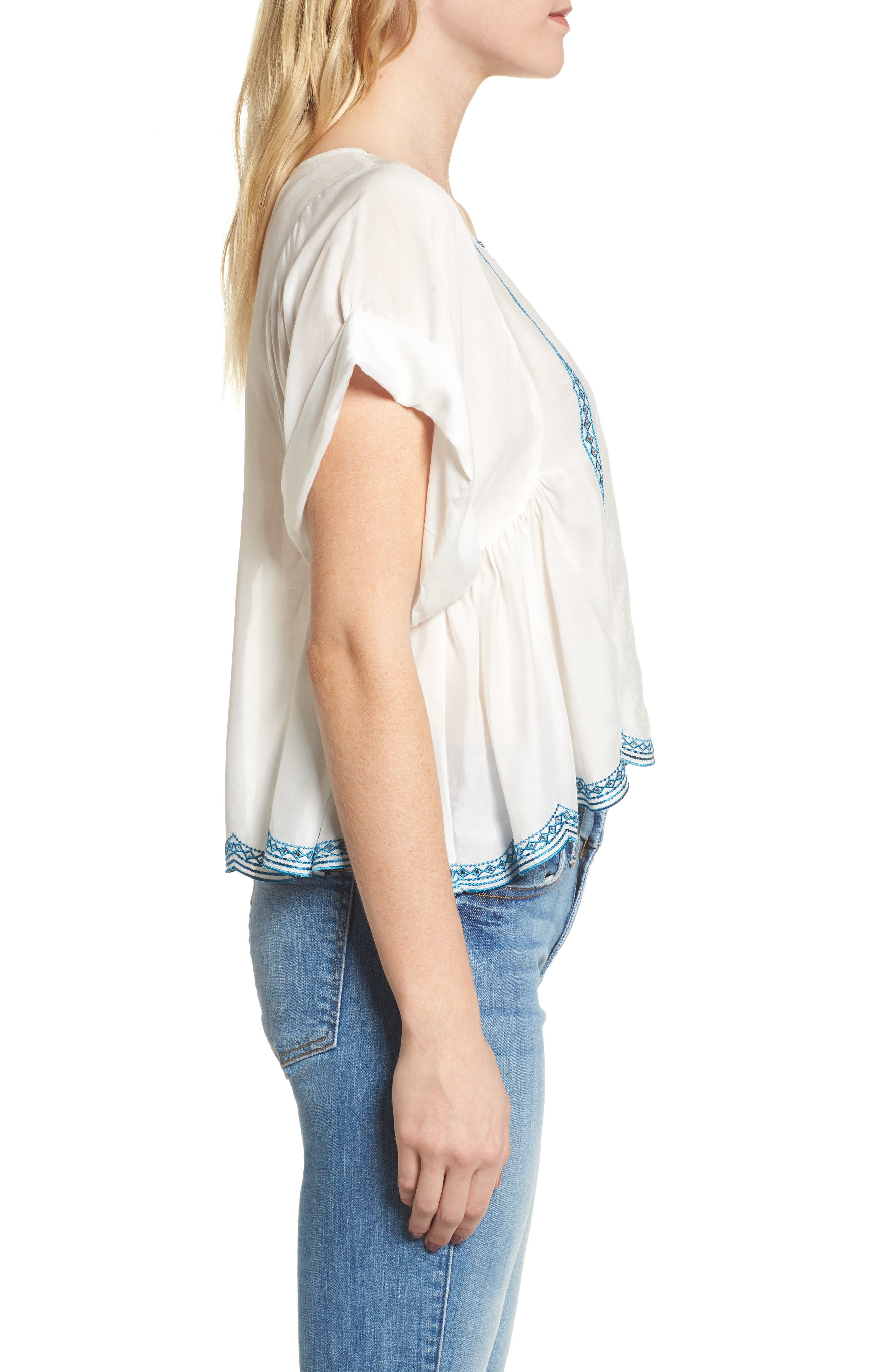 Embroidered Top,                             Alternate thumbnail 3, color,                             Natural