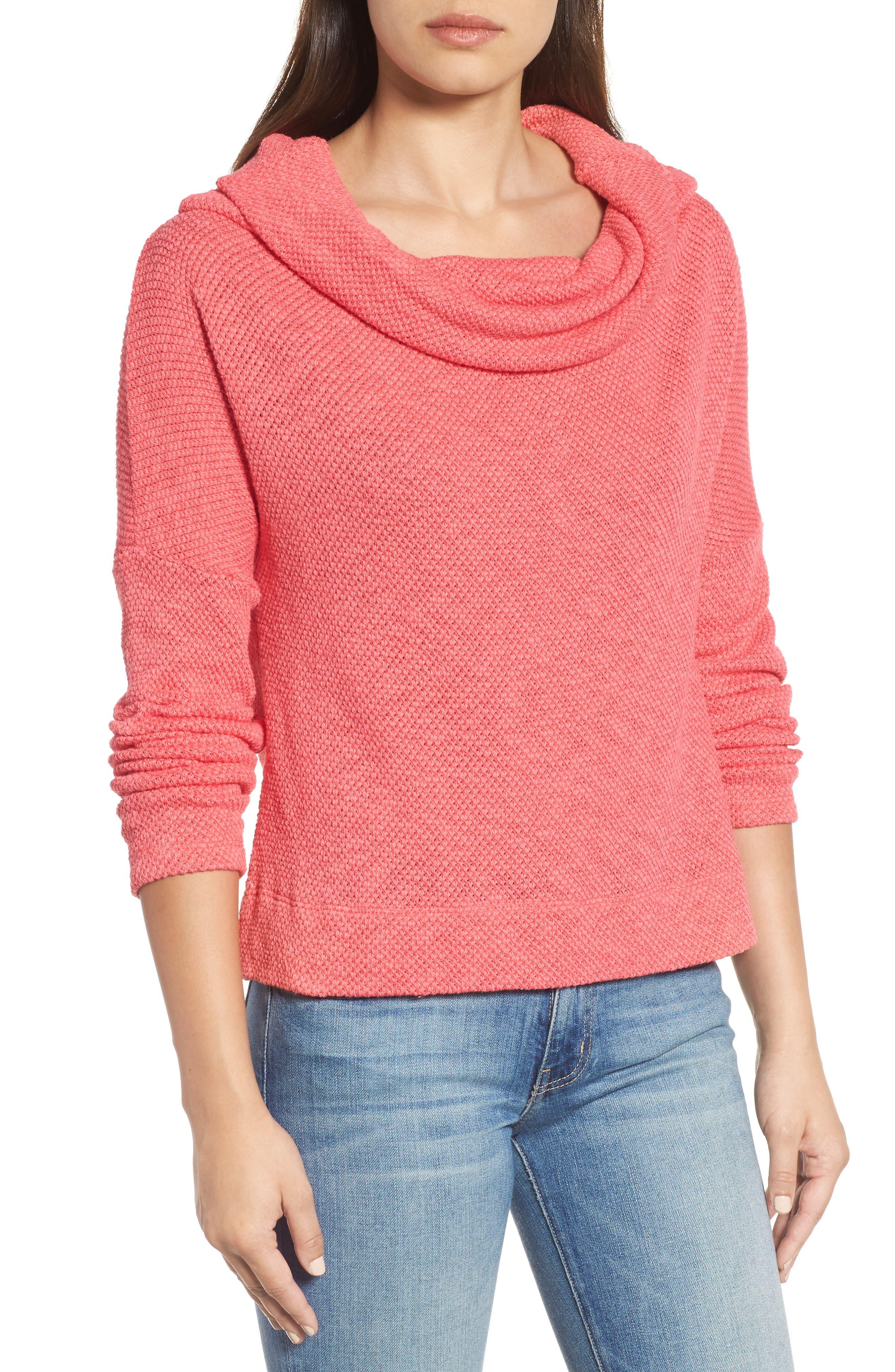 Convertible Neck Knit Pullover,                             Alternate thumbnail 5, color,                             Pink Ribbon