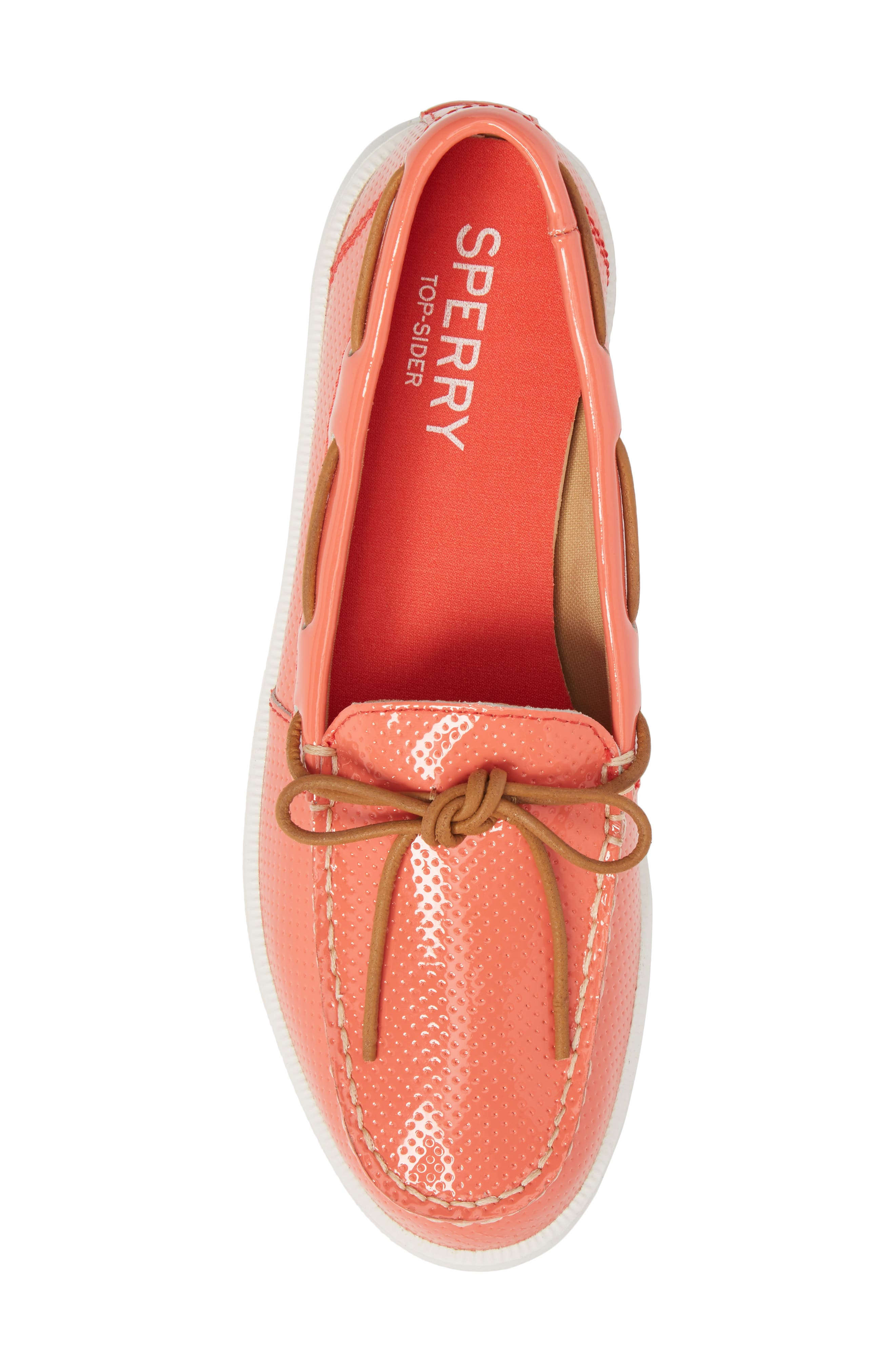 Oasis Boat Shoe,                             Alternate thumbnail 5, color,                             Coral Patent Leather