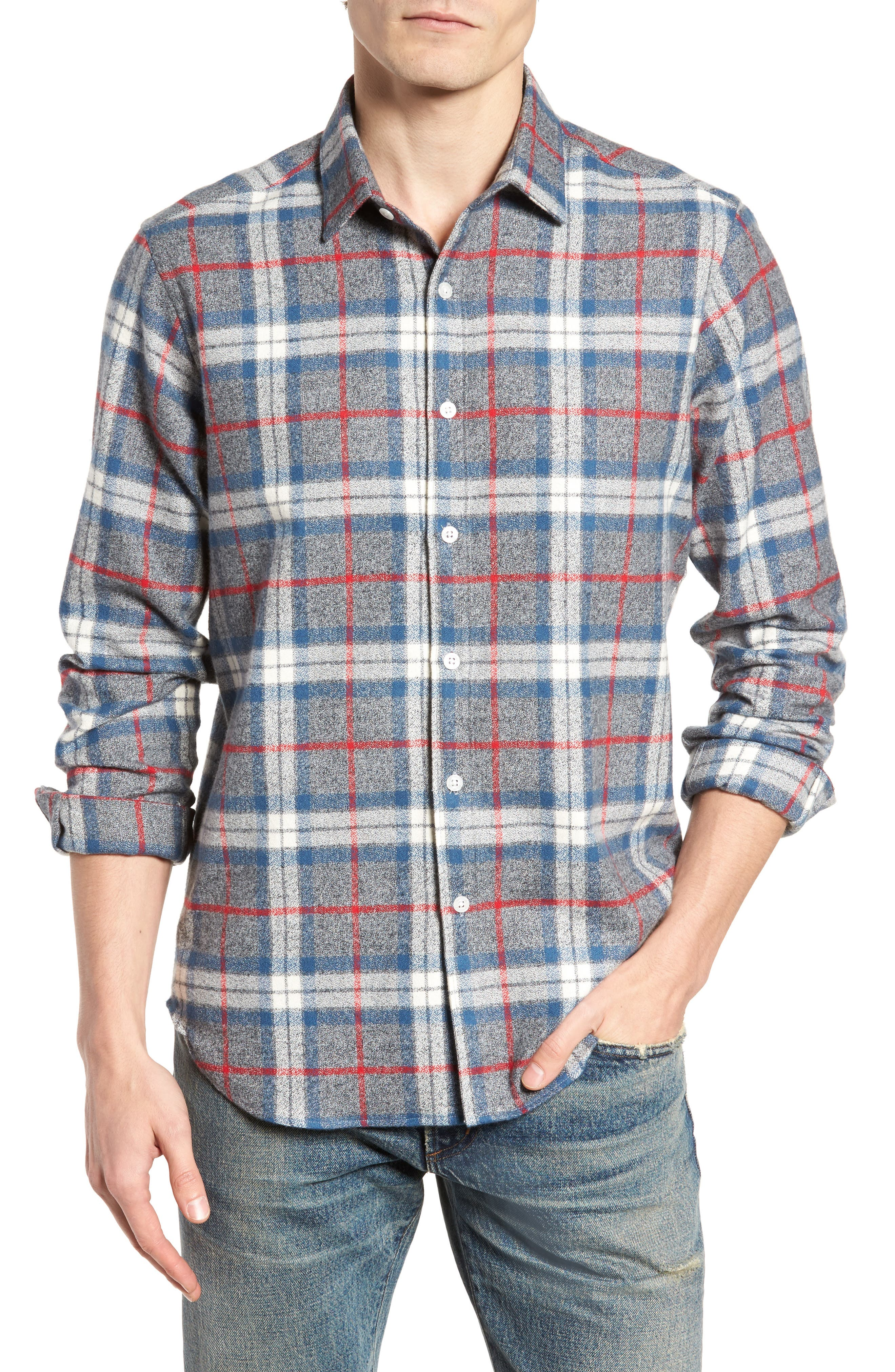 Brattleb Slim Fit Plaid Sport Shirt,                             Main thumbnail 1, color,                             Smoke Grey