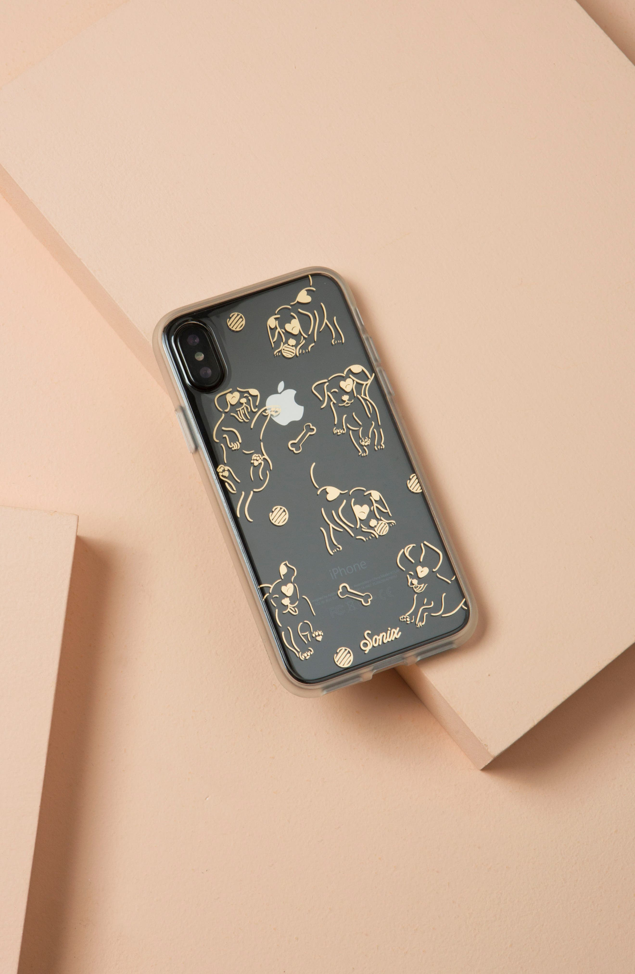 Hush Puppy iPhone X Case,                             Alternate thumbnail 3, color,                             Clear/ Gold