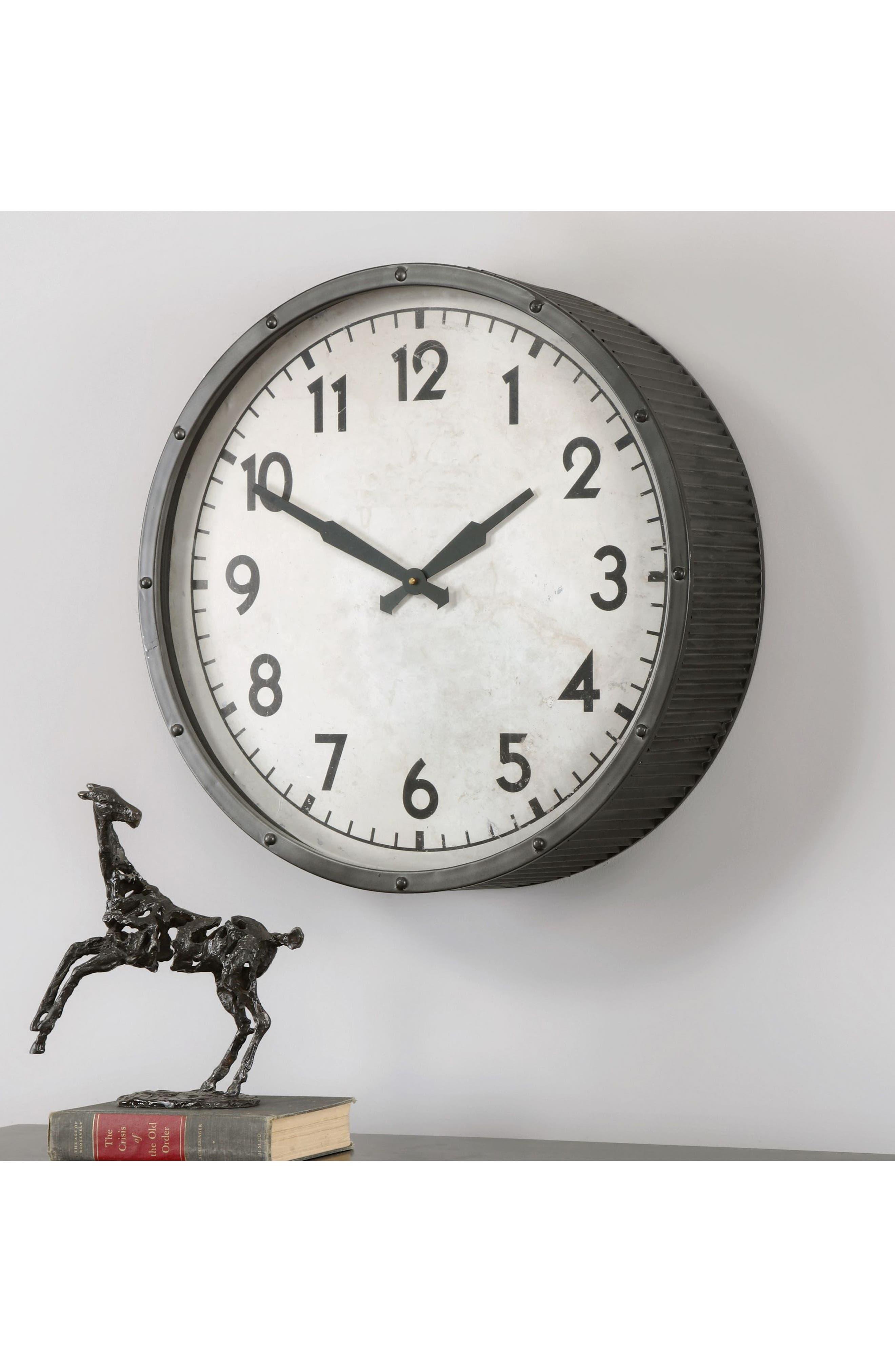 Berta Wall Clock,                             Alternate thumbnail 2, color,                             Ivory
