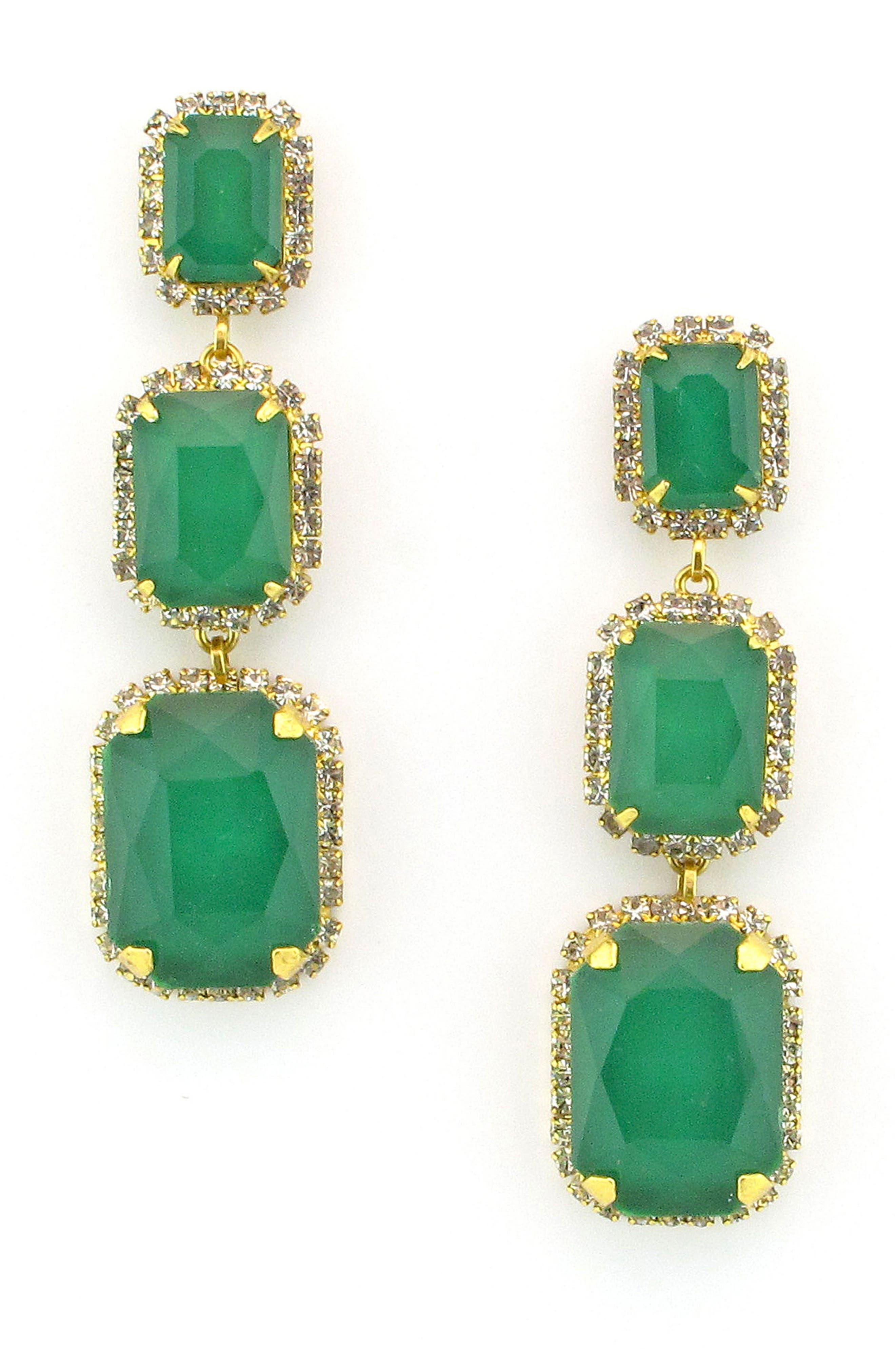 Crystal Drop Earrings,                         Main,                         color, Green