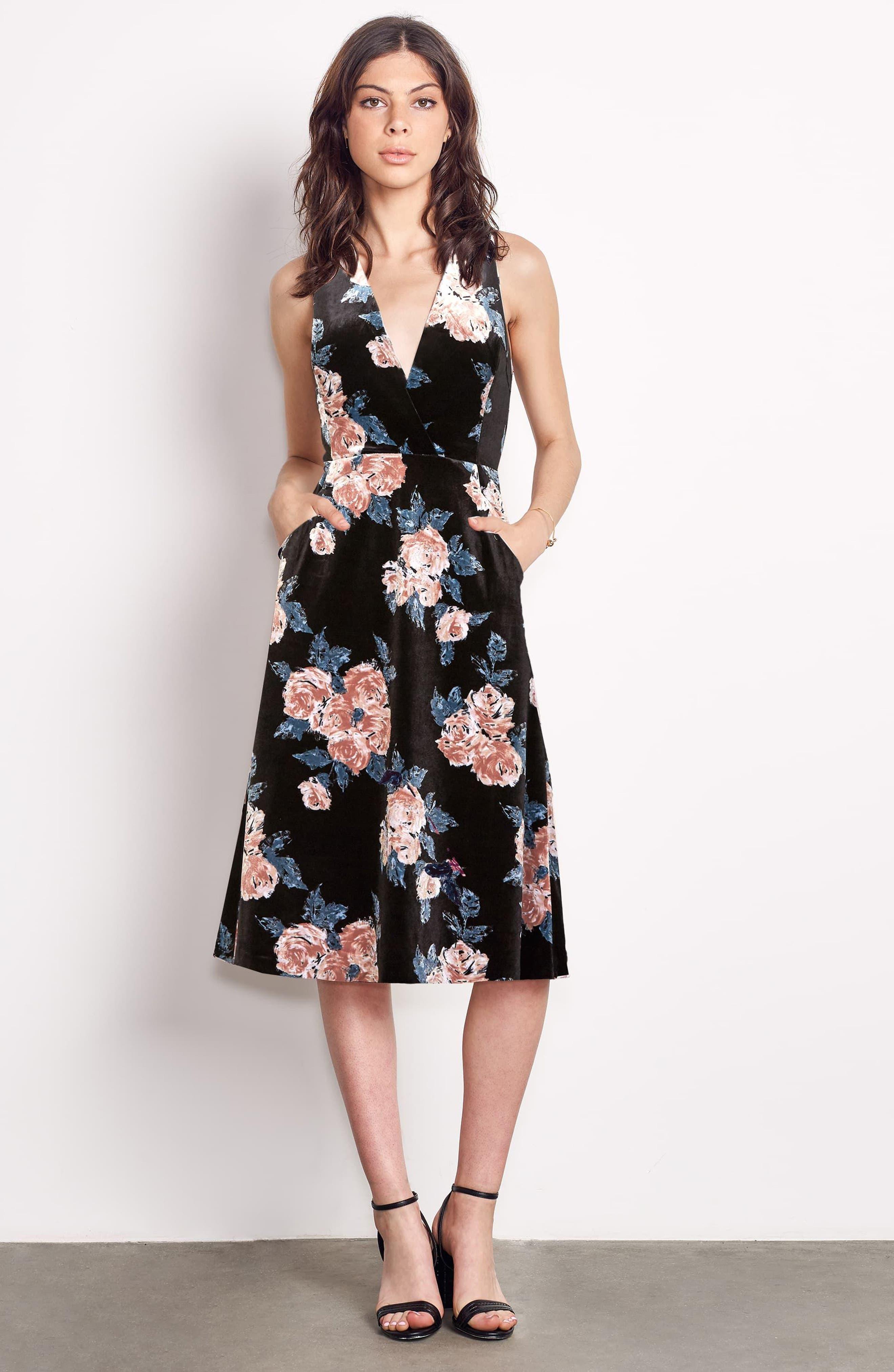 Costes Velvet Fit & Flare Dress,                             Alternate thumbnail 2, color,                             Black Rosettes