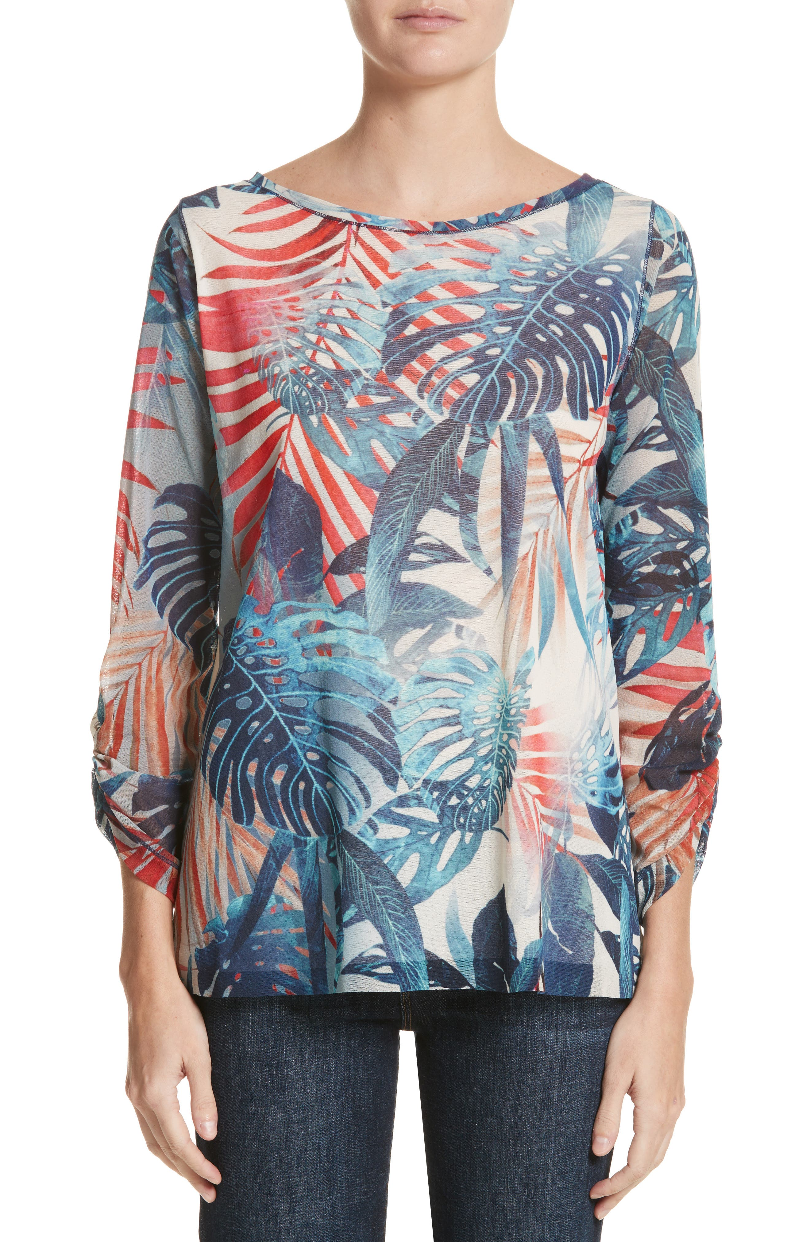 Foliage Print Long Sleeve Top,                         Main,                         color, Zaffiro