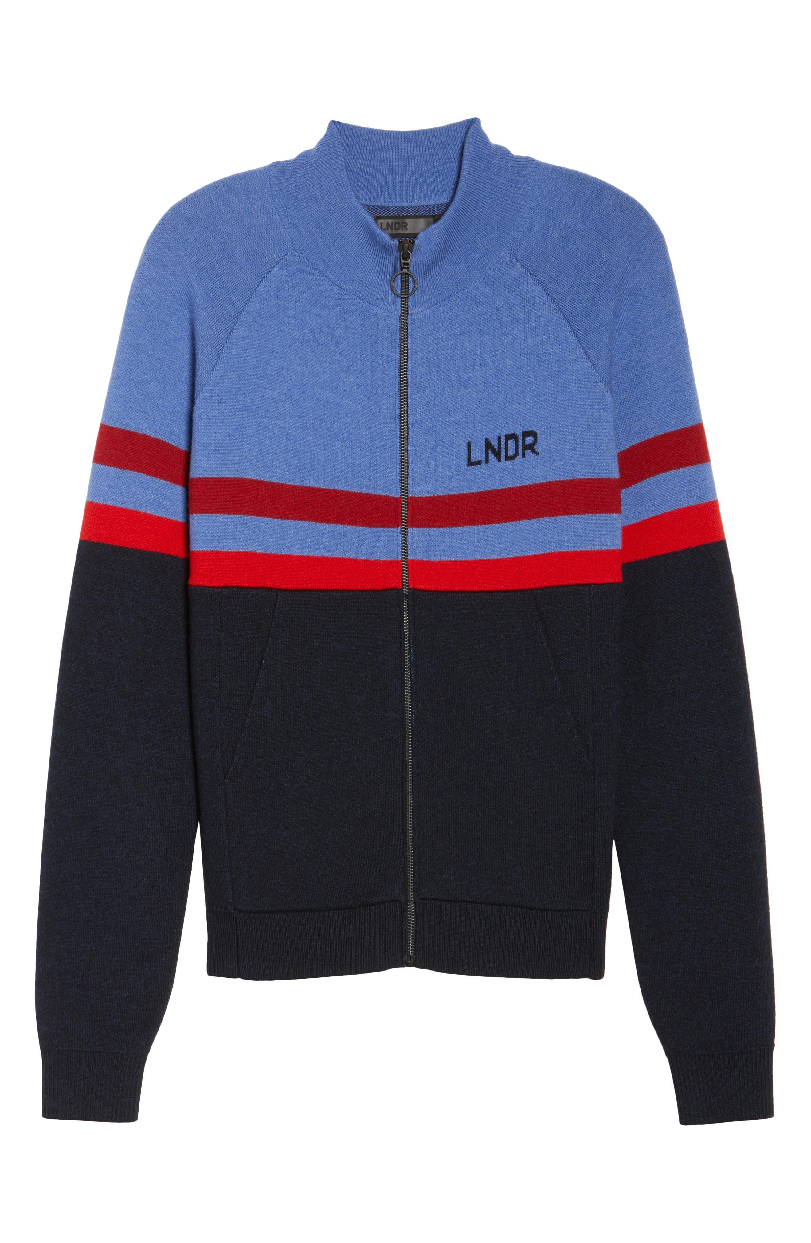 Merino Wool Zip Jacket,                             Alternate thumbnail 7, color,                             Sky Blue