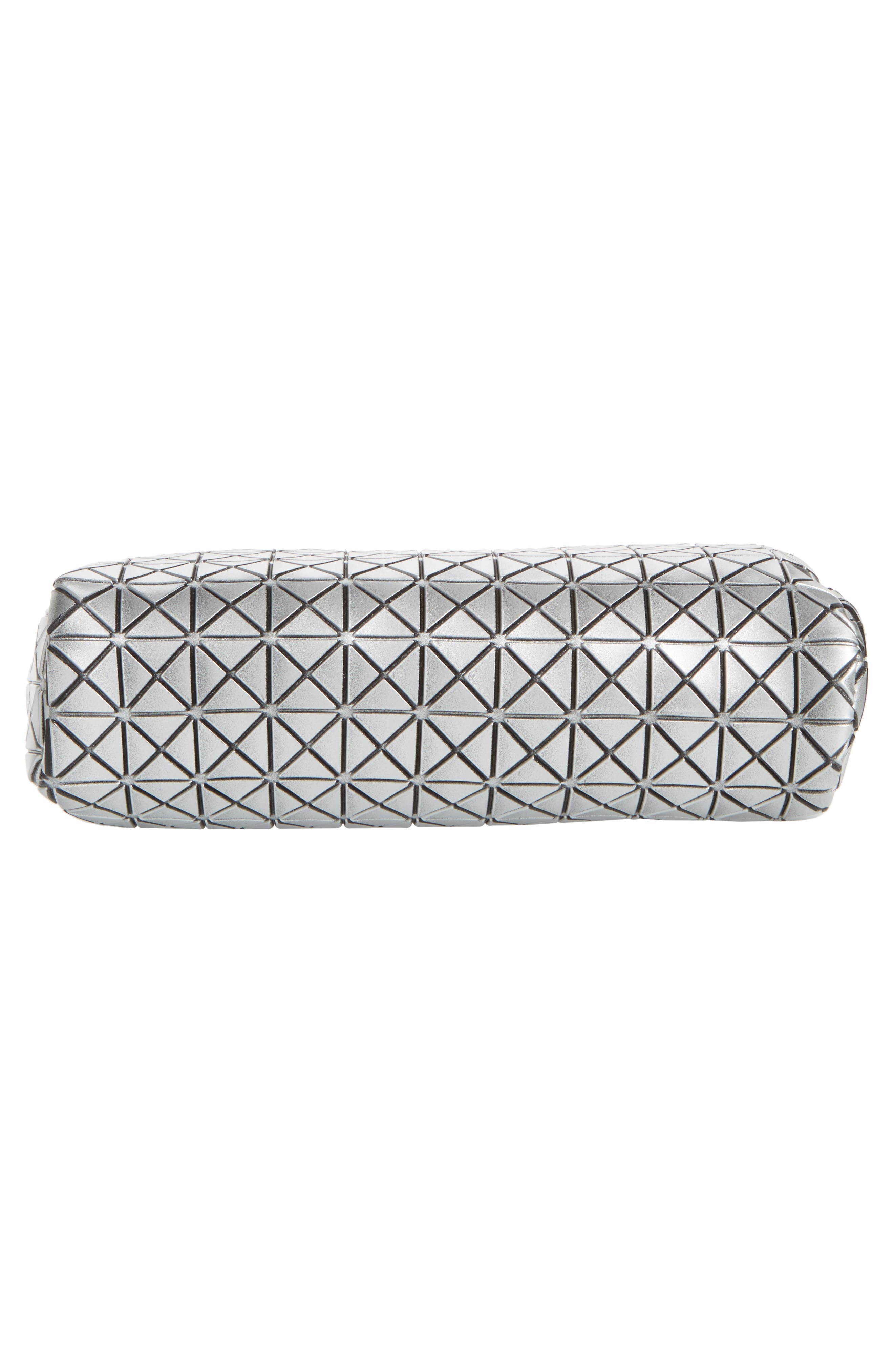 Diamond Embossed Cosmetics Bag,                             Alternate thumbnail 5, color,                             Silver