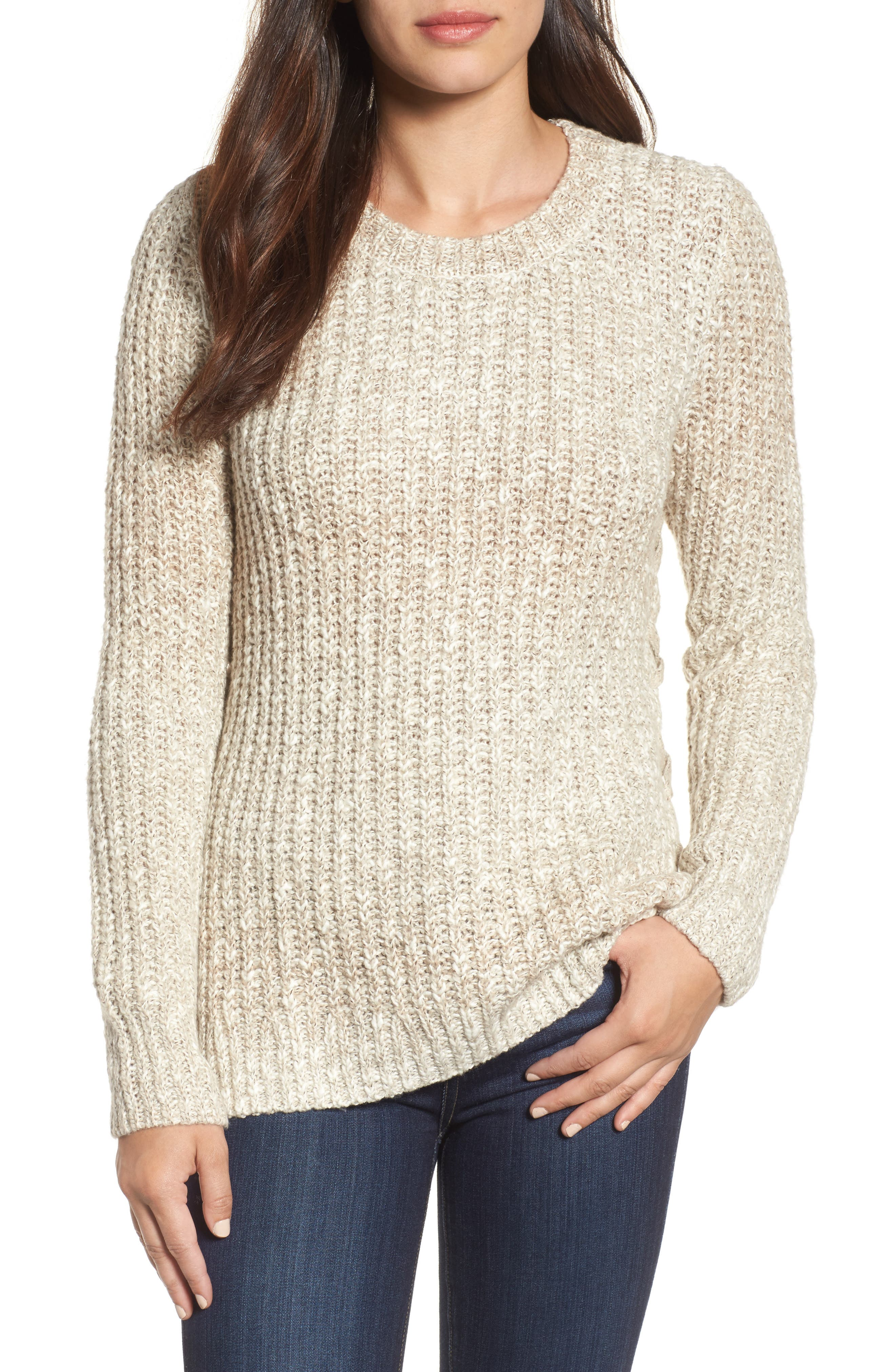 Side Lace-Up Sweater,                         Main,                         color, Natural Multi