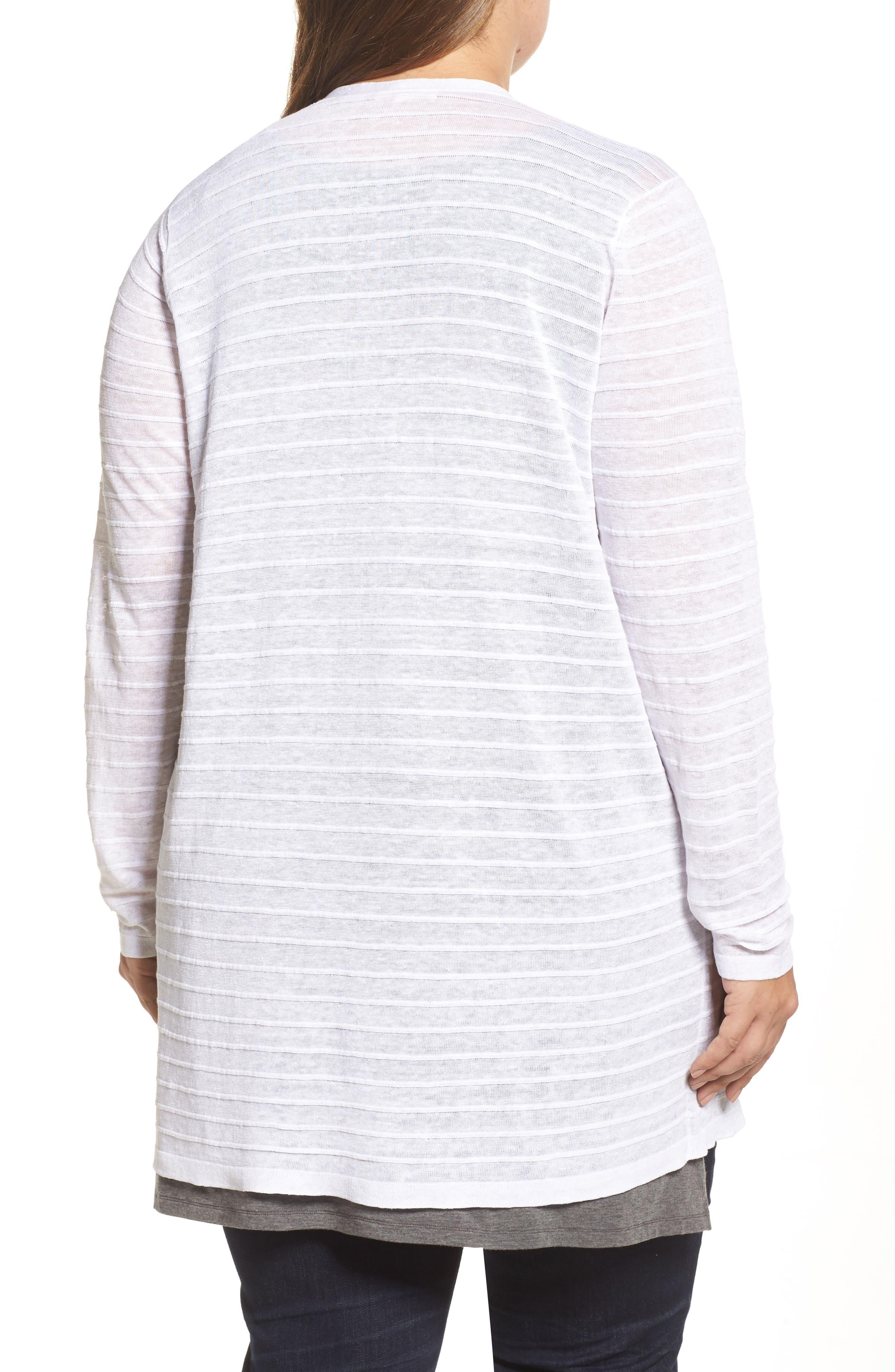 Shadow Stripe Organic Linen Cardigan,                             Alternate thumbnail 2, color,                             White