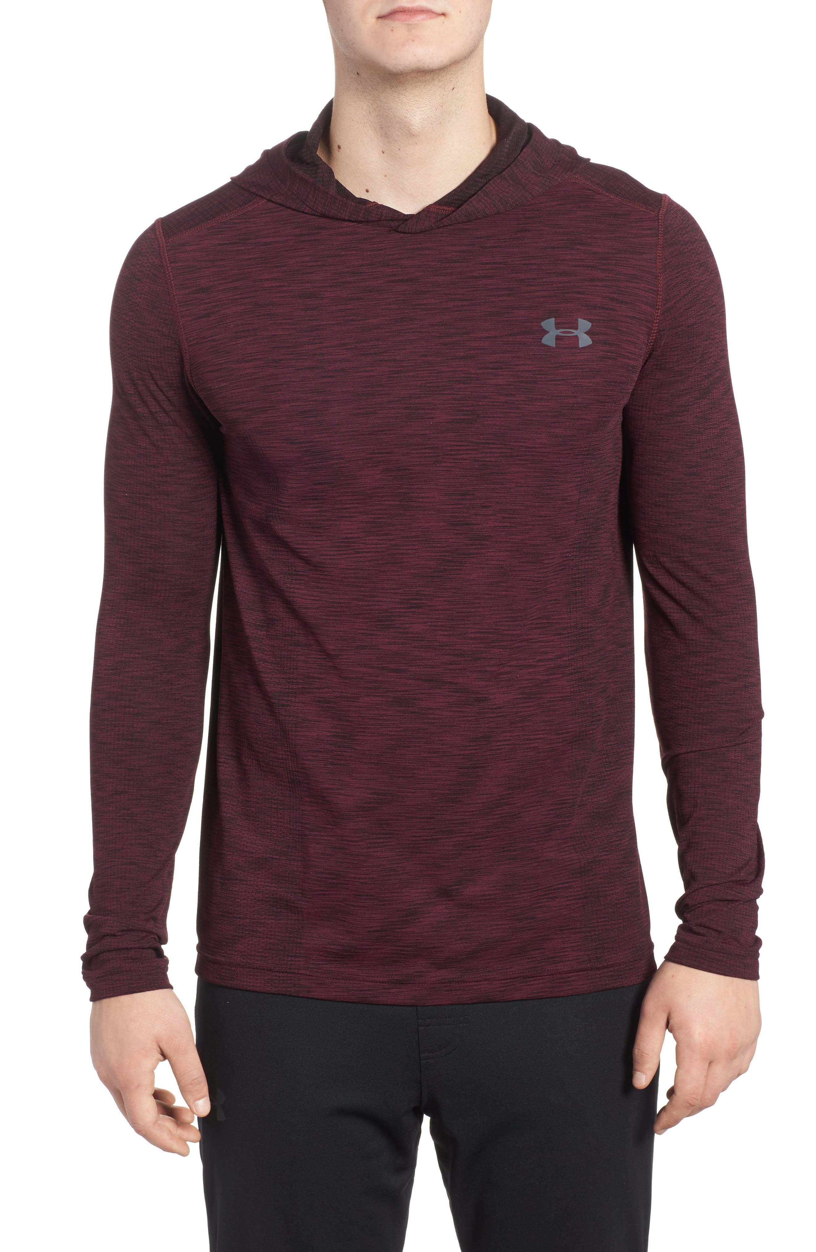 Threadbone Fitted Seamless Hoodie,                         Main,                         color, Raisin Red / Stealth Grey