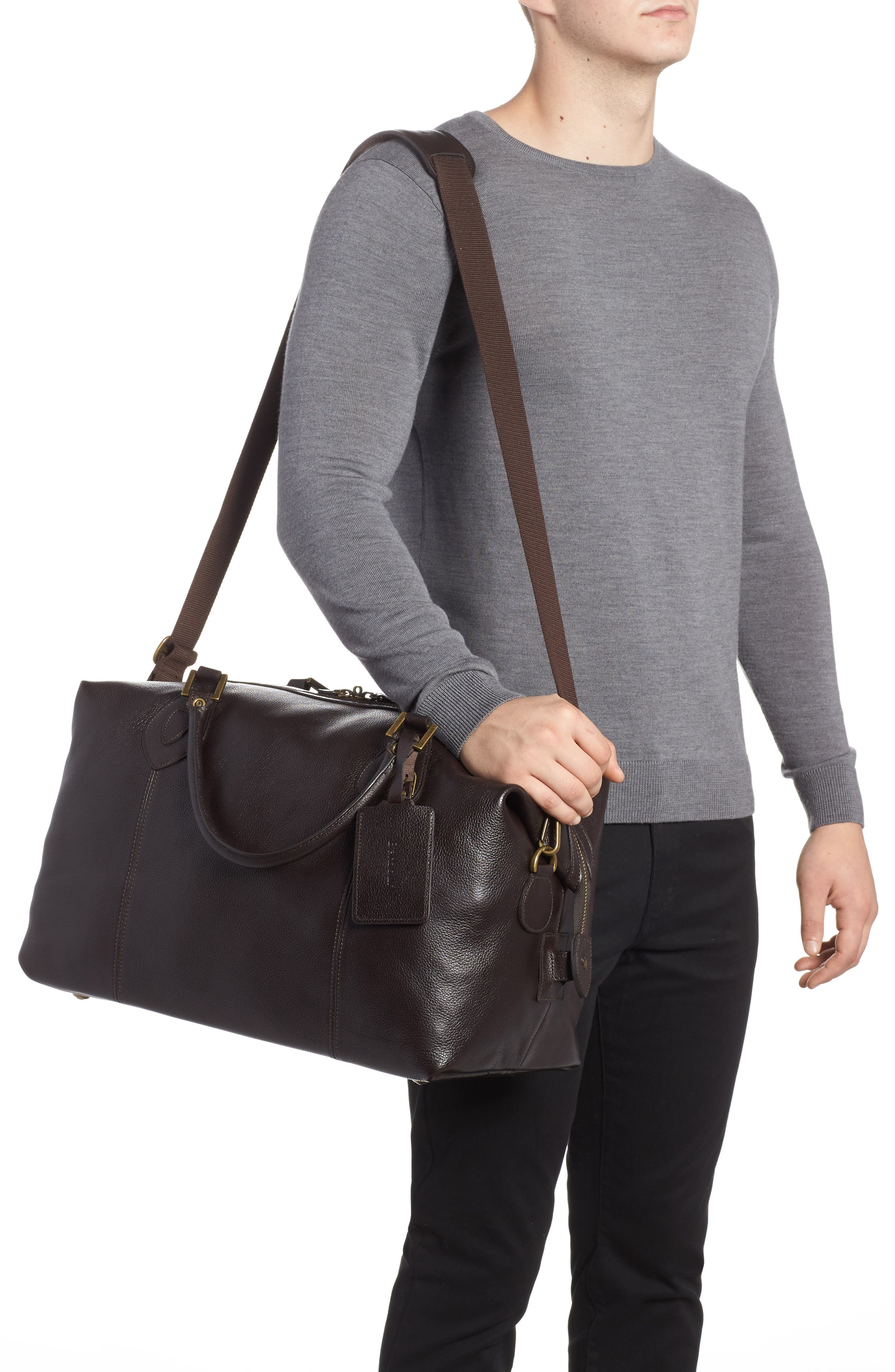 Leather Travel Bag,                             Alternate thumbnail 2, color,                             Chocolate