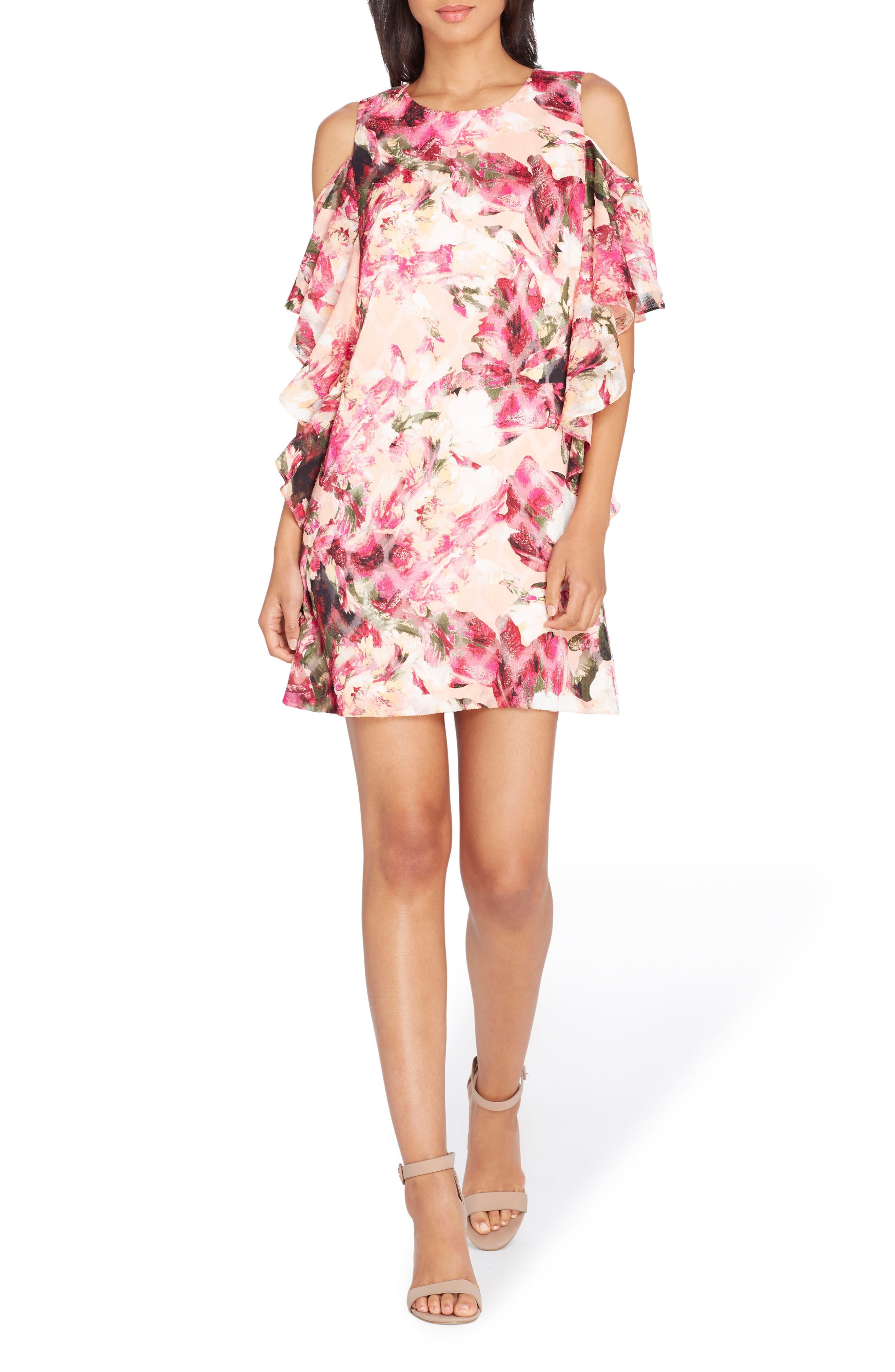 Cold Shoulder Ruffle Dress,                             Main thumbnail 1, color,                             Peach/ Magenta/ Olive