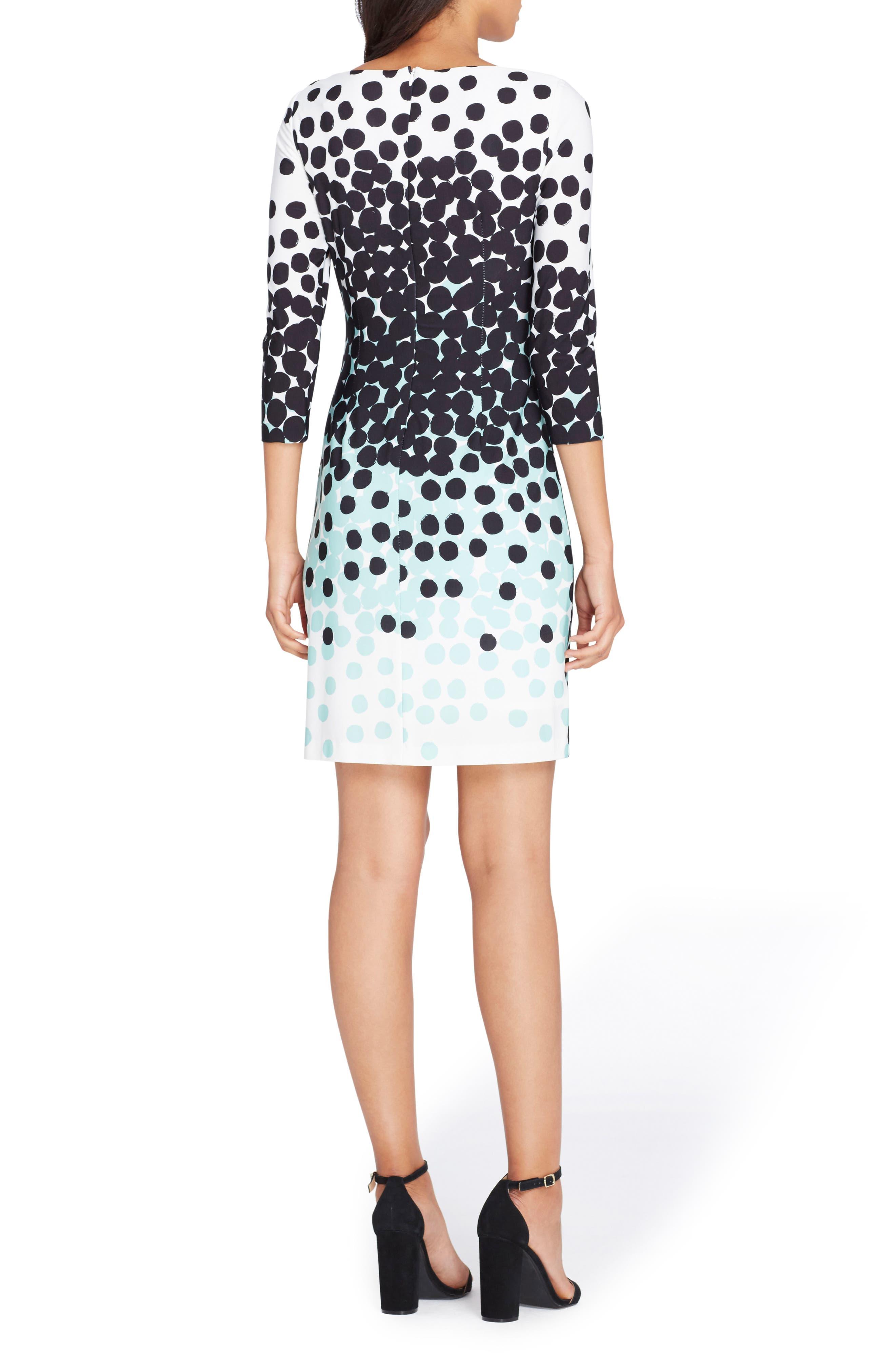 Dot Sheath Dress,                             Alternate thumbnail 2, color,                             Ivory/ Black/ Mint
