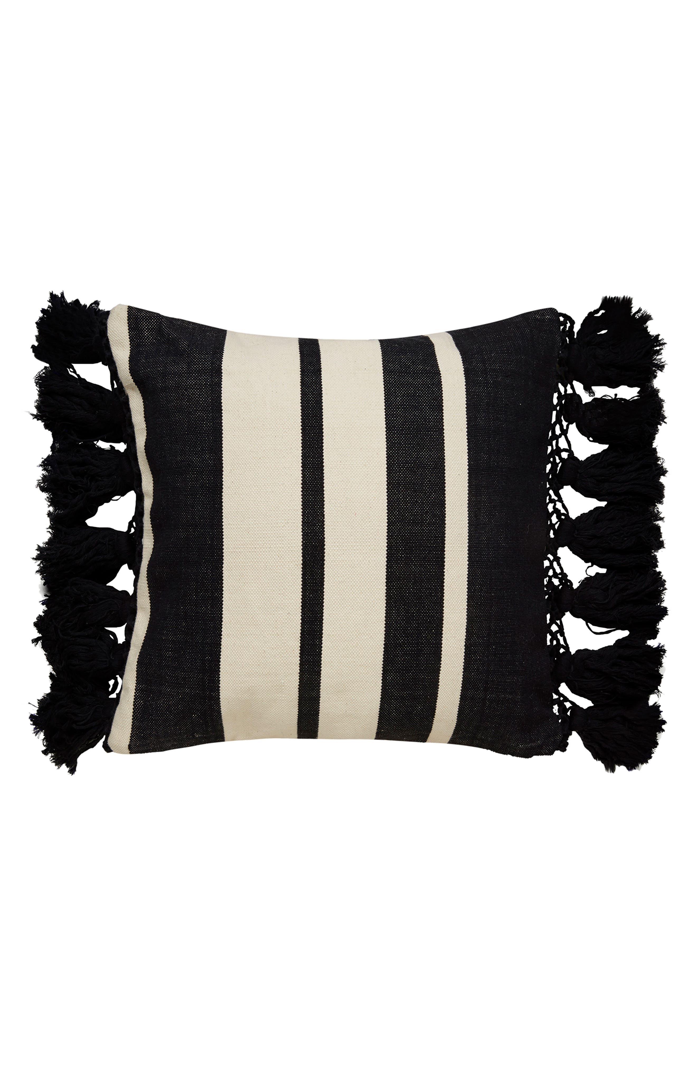 stripe pillow,                         Main,                         color, Black