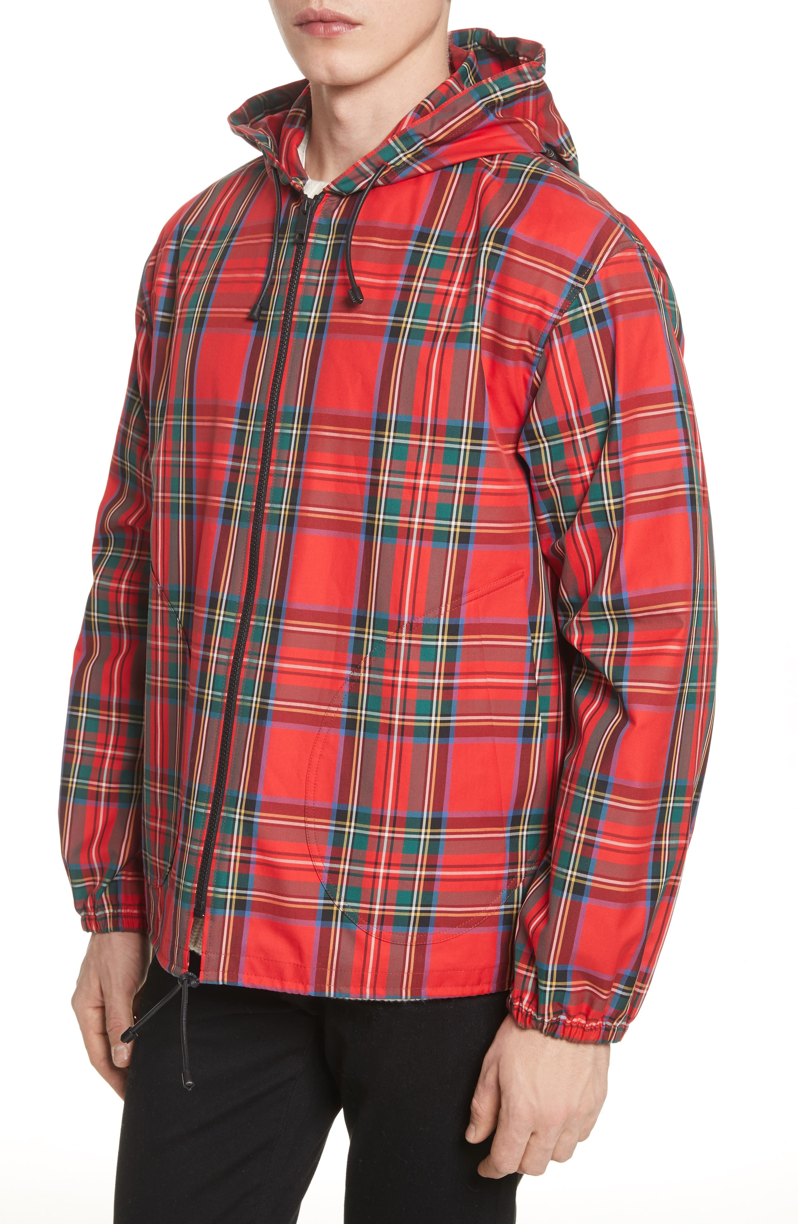 Tartan Twill Hooded Jacket,                             Alternate thumbnail 4, color,                             Bright Red