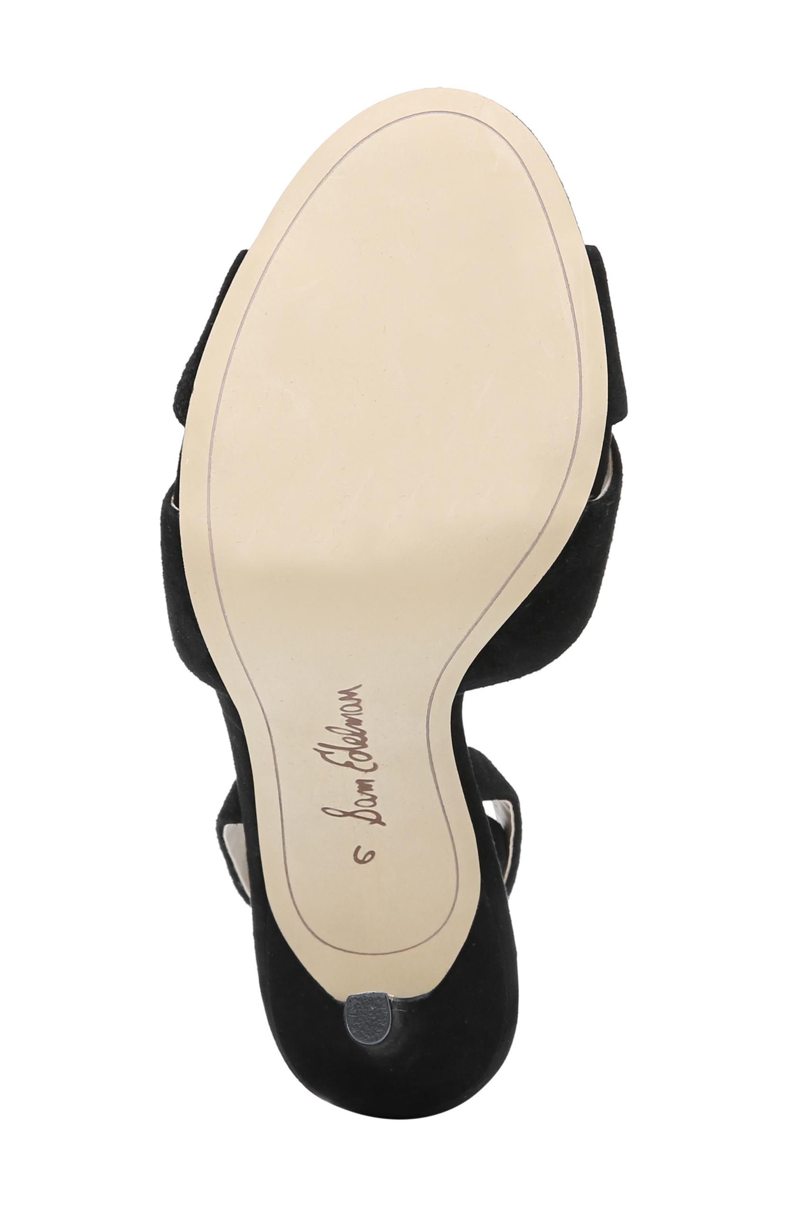 Aly Ankle Strap Sandal,                             Alternate thumbnail 4, color,                             Black Suede