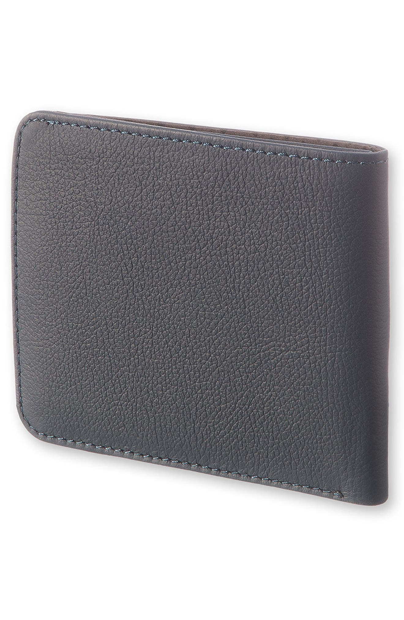Lineage Leather Wallet,                             Alternate thumbnail 3, color,                             Avio Blue