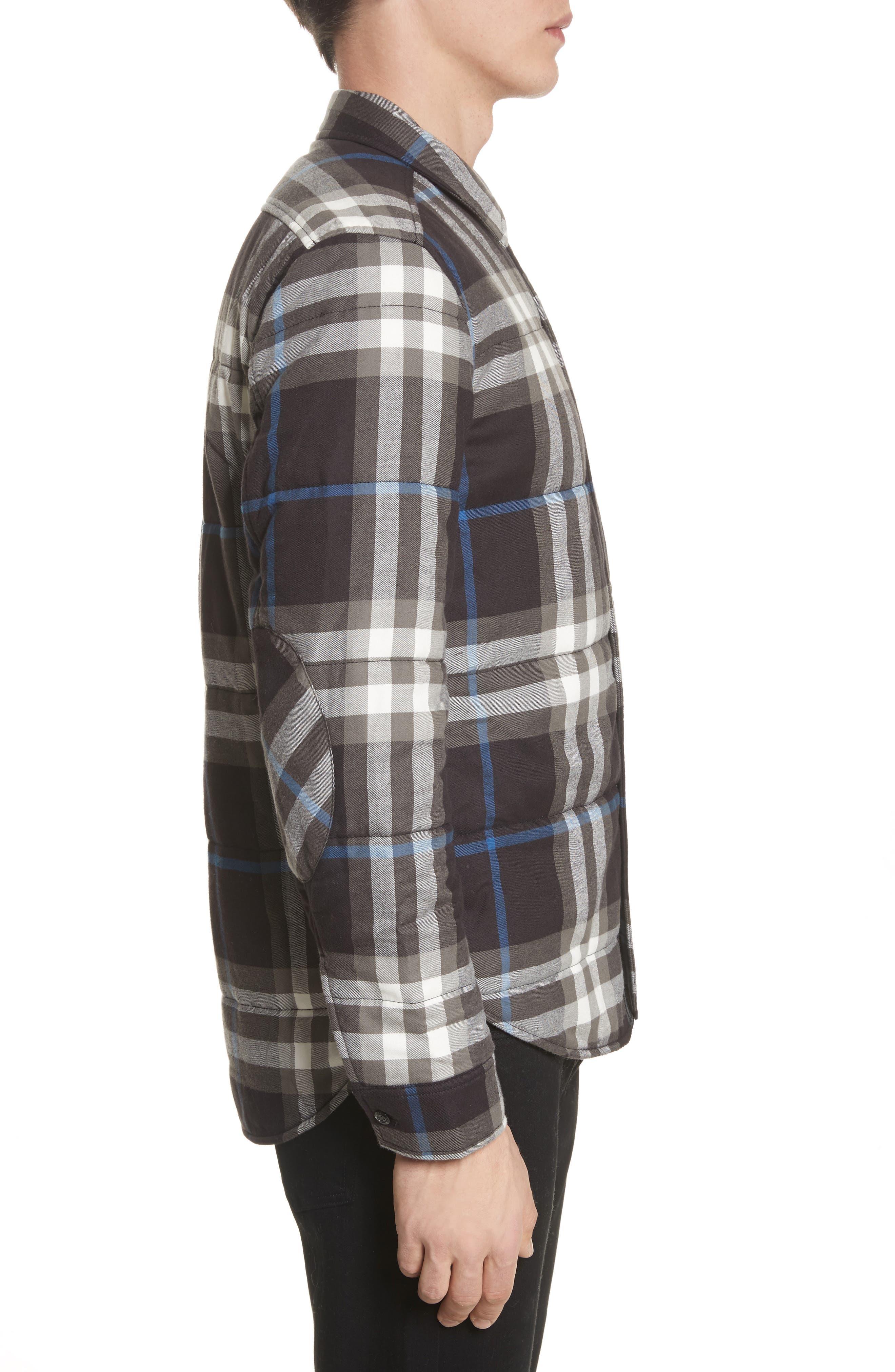 Walsden Plaid Flannel Shirt Jacket,                             Alternate thumbnail 3, color,                             Black