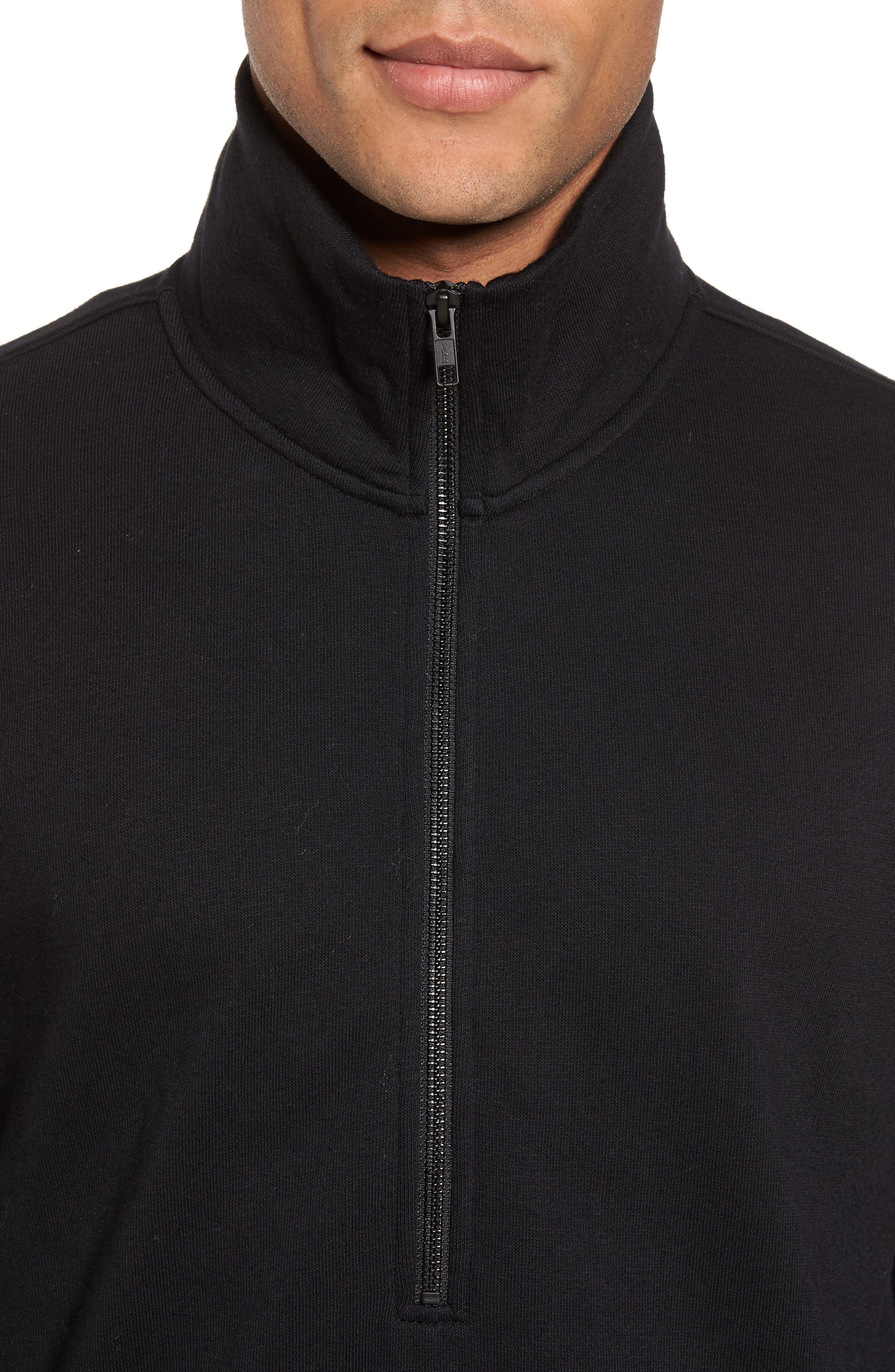 Quarter Zip Fleece Pullover,                             Alternate thumbnail 4, color,                             Black
