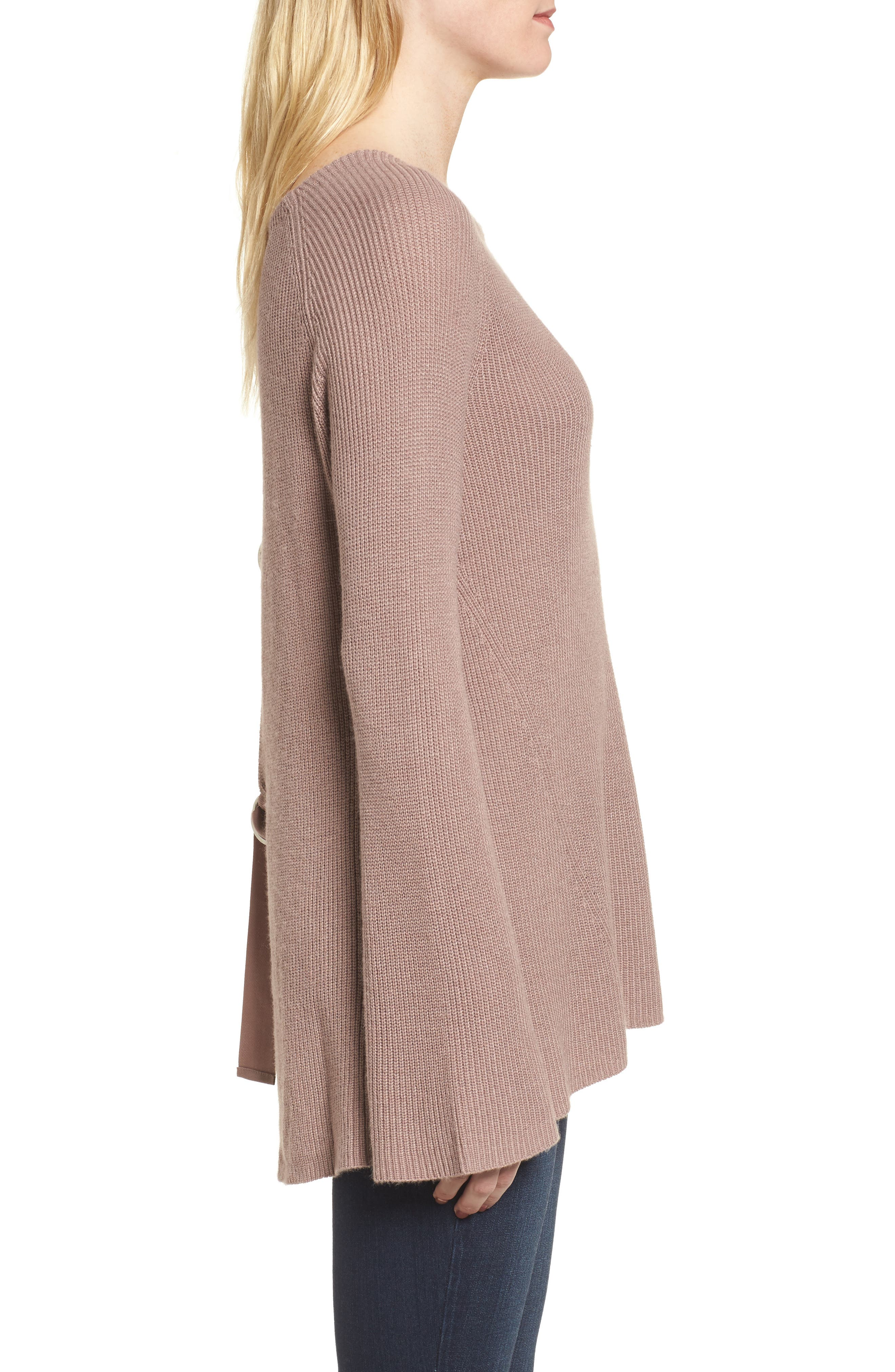 Flare Sleeve Open Back Sweater,                             Alternate thumbnail 3, color,                             Pink Fawn Heather