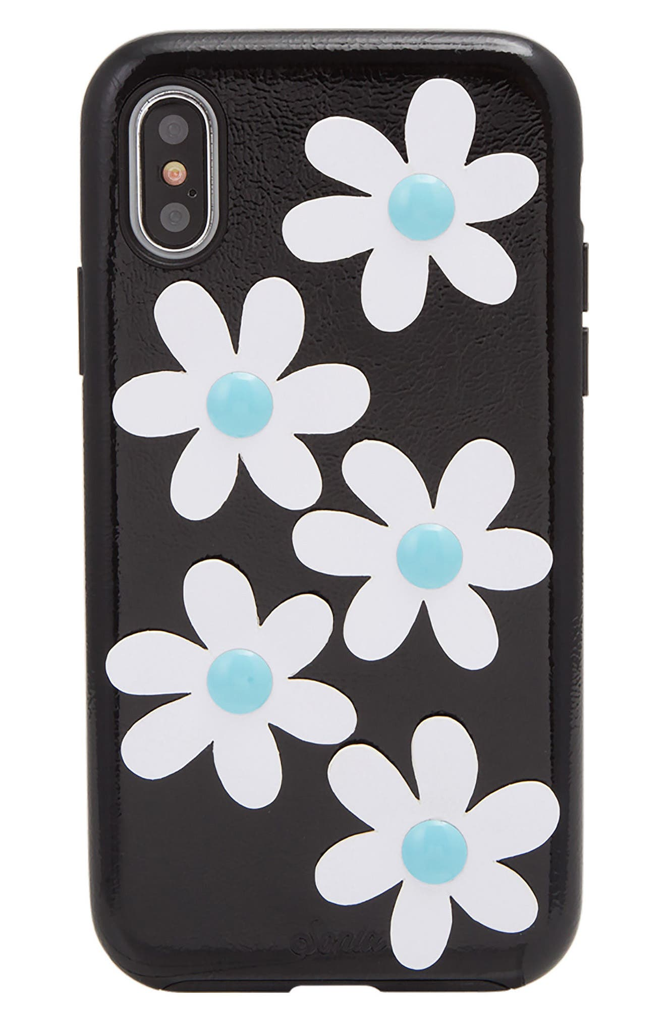 Daisy Faux Leather iPhone X Case,                             Main thumbnail 1, color,                             Black/ White