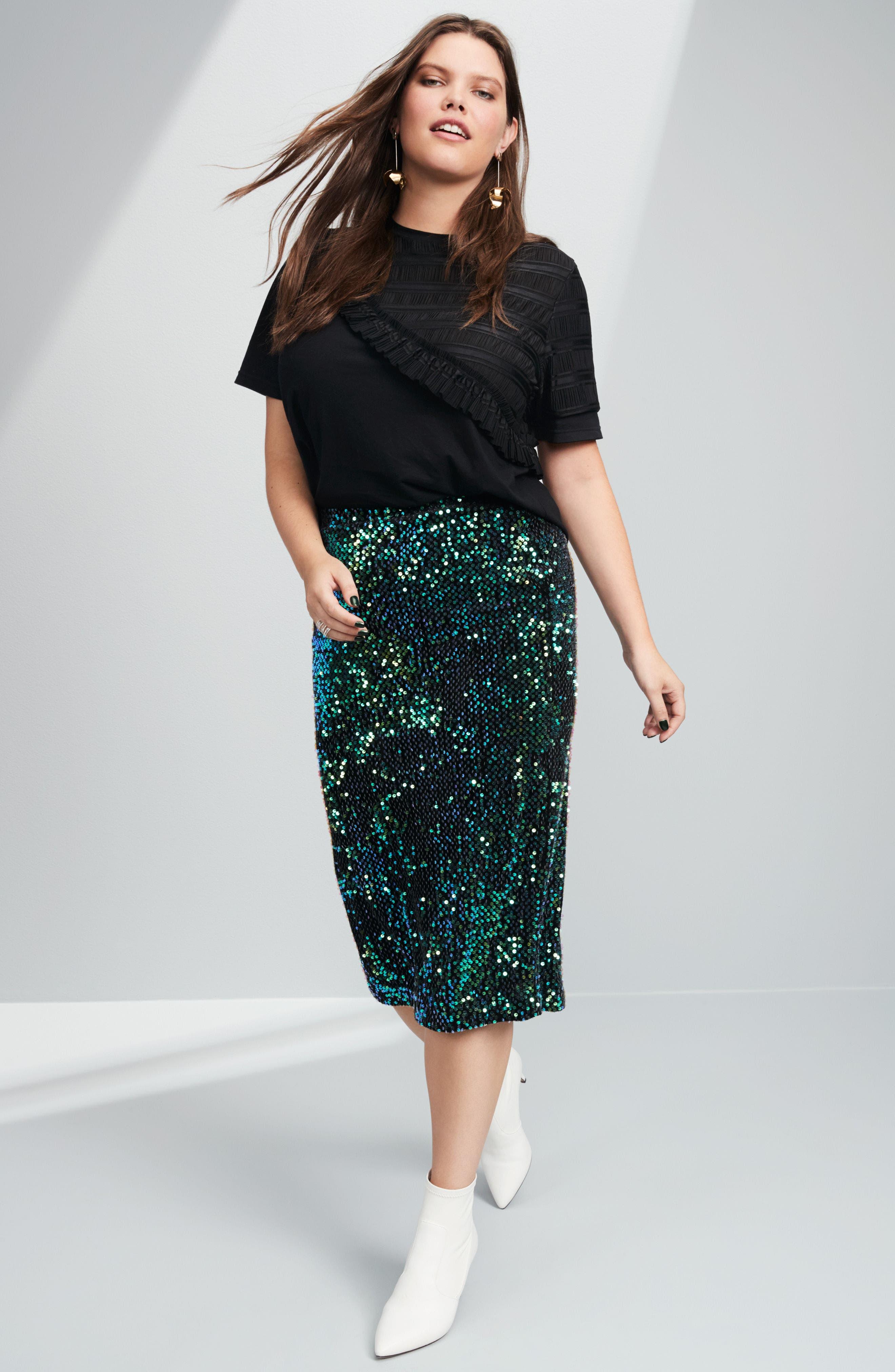 Alternate Image 7  - LOST INK Sequin Pencil Skirt (Plus Size)