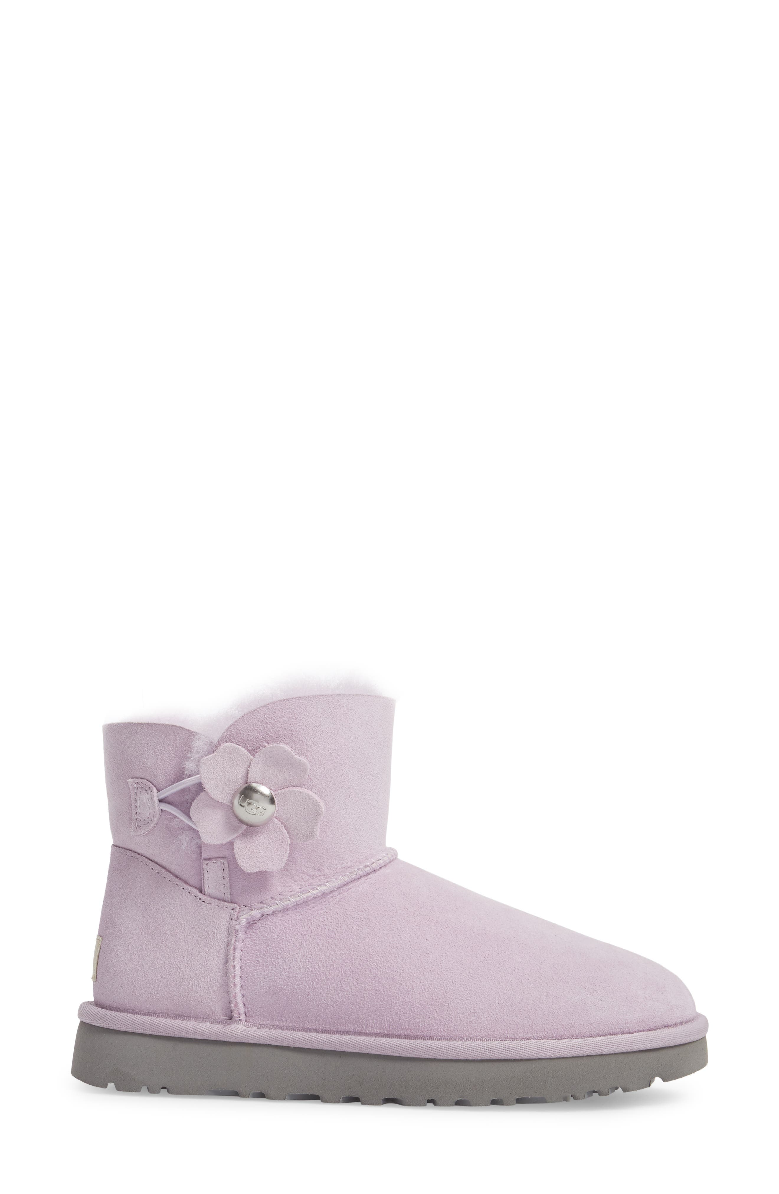 Mini Bailey Button Poppy Genuine Shearling Lined Boot,                             Alternate thumbnail 3, color,                             Lavender Fog