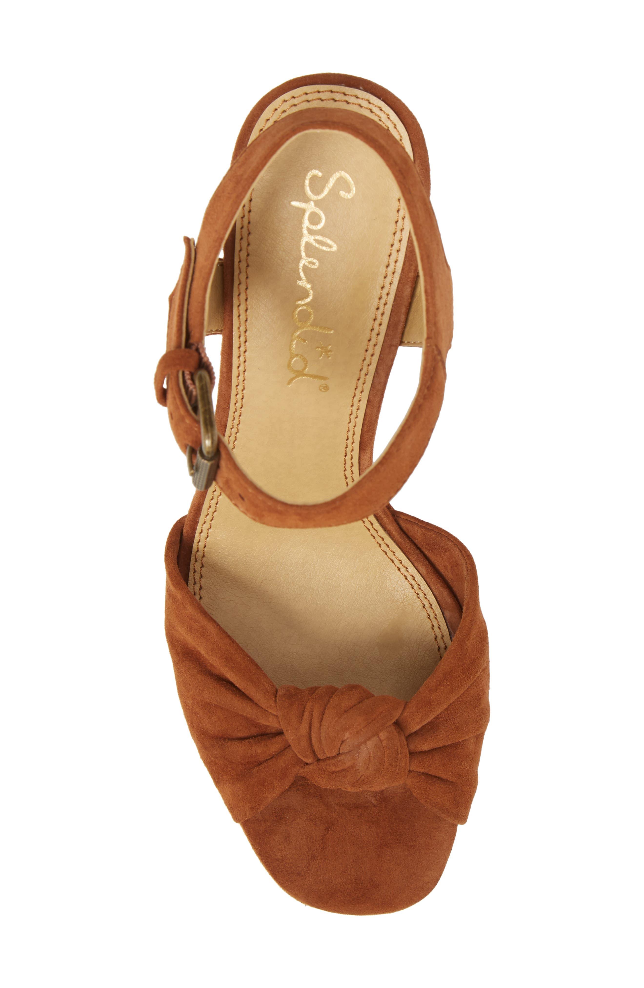 Bates Platform Sandal,                             Alternate thumbnail 5, color,                             Caramel Suede