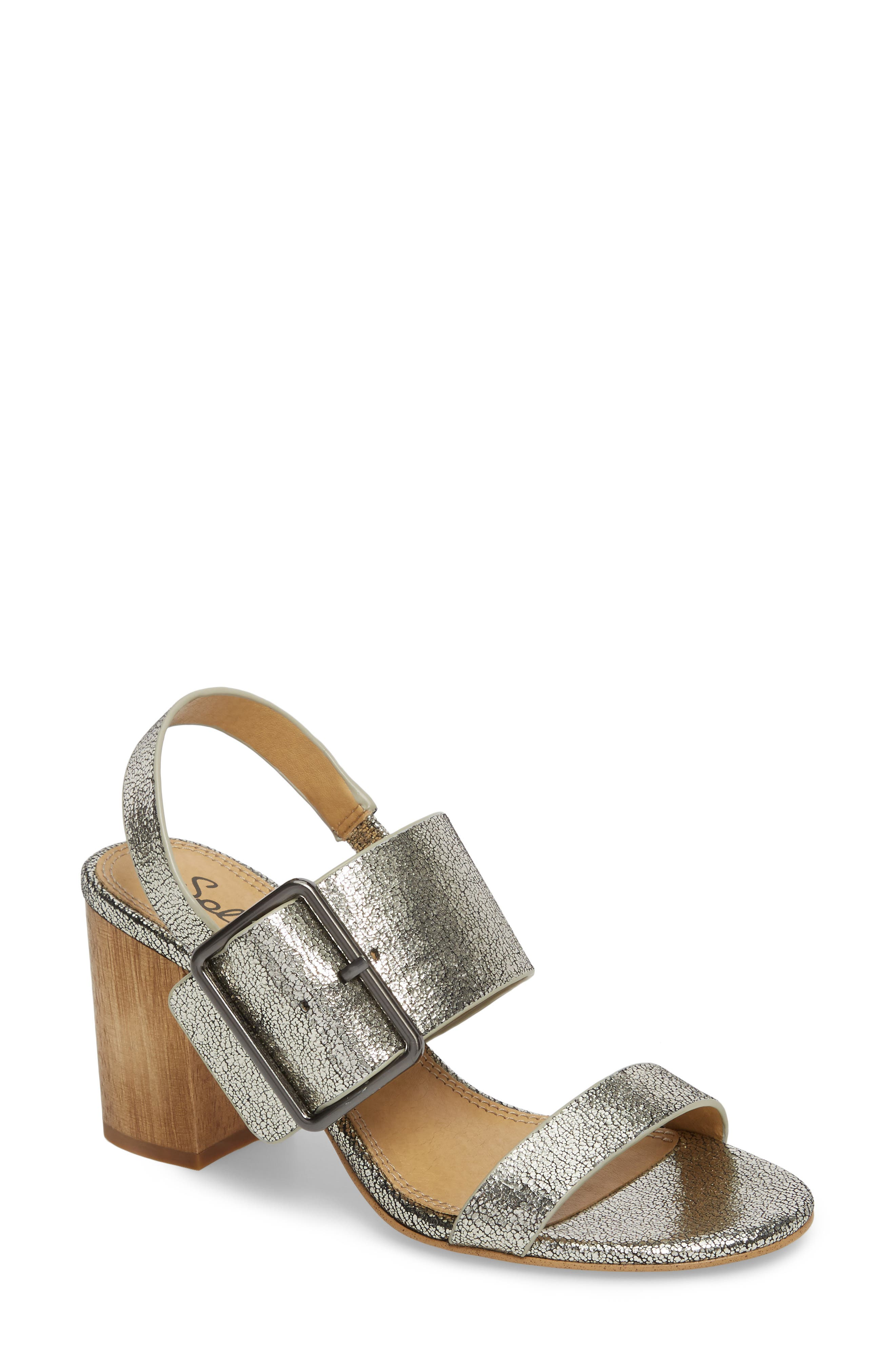 Bo Slingback Sandal,                             Main thumbnail 1, color,                             Nickel Metallic Leather