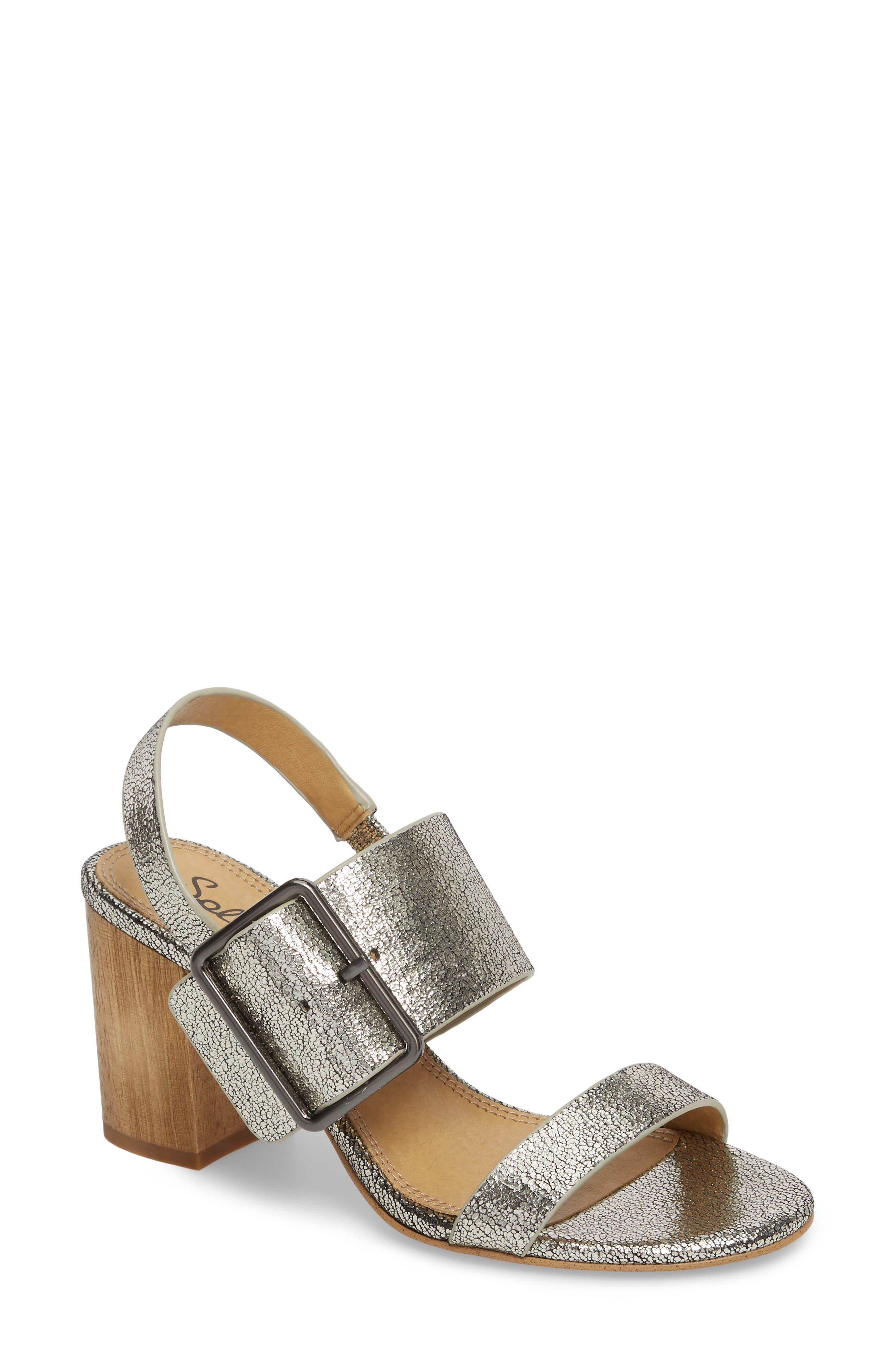 Bo Slingback Sandal,                         Main,                         color, Nickel Metallic Leather